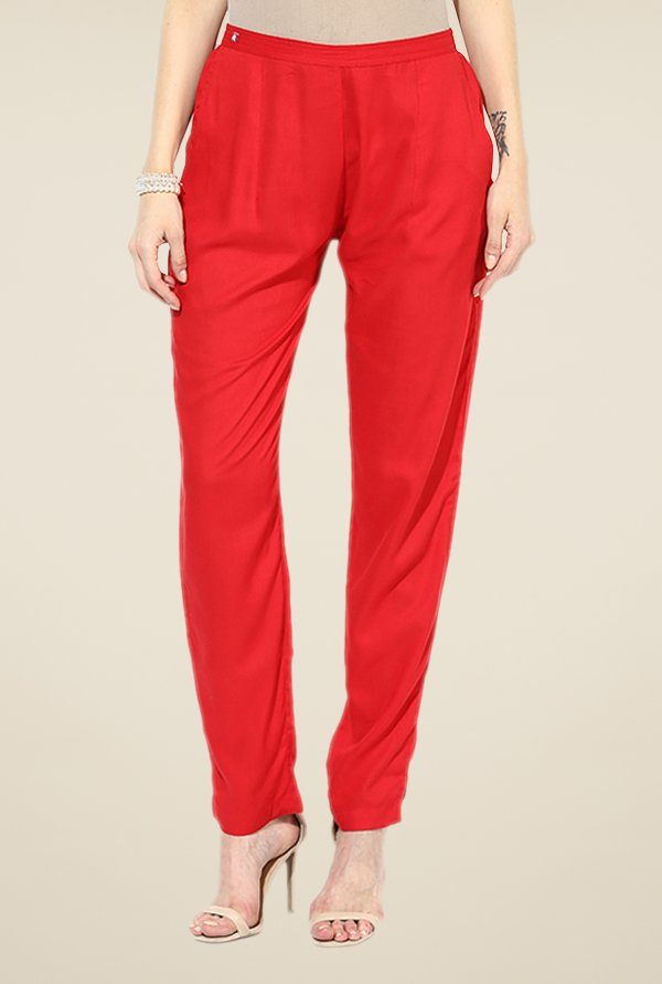 Shree Red Rayon Trousers