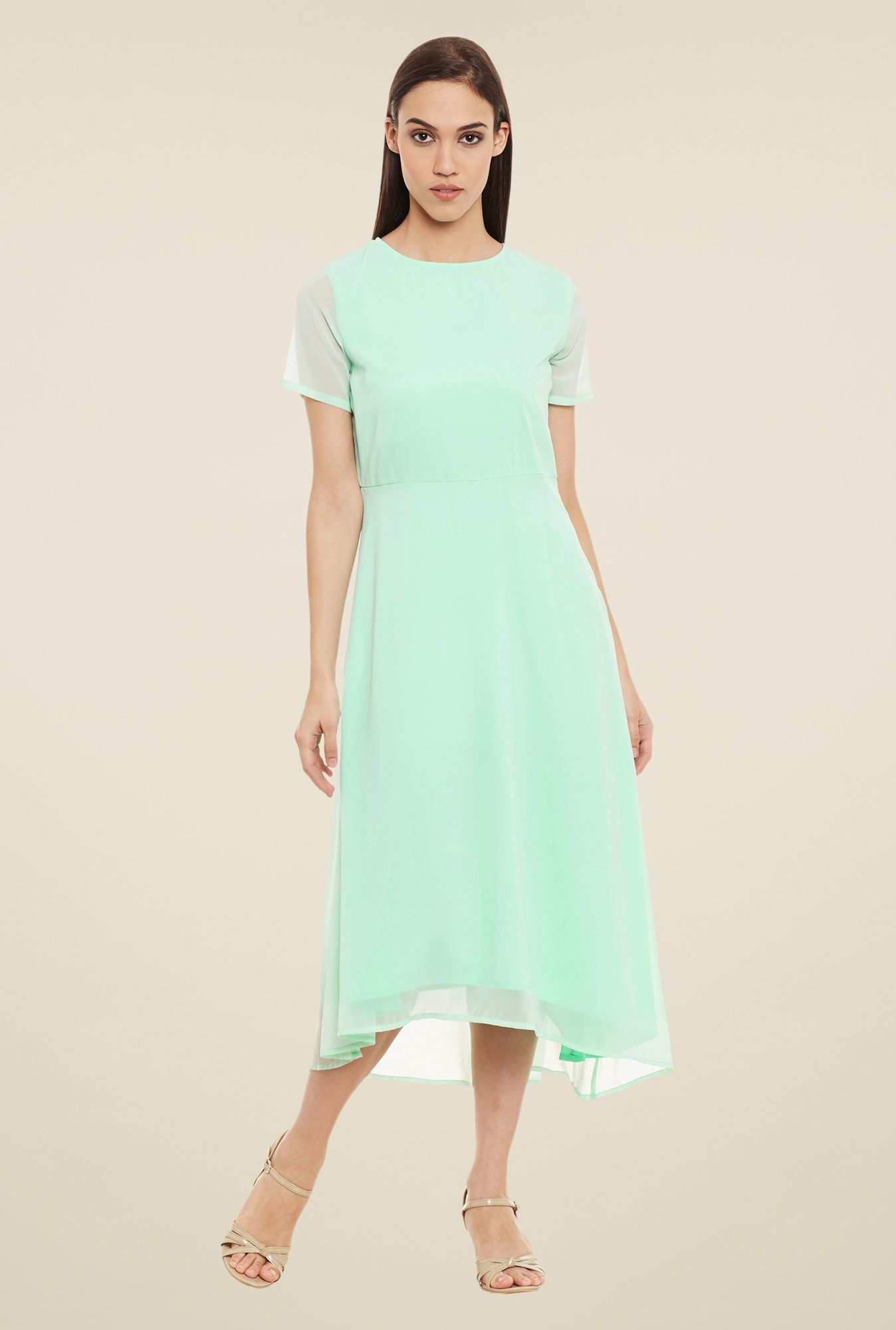 Femella Mint Green Solid Dress