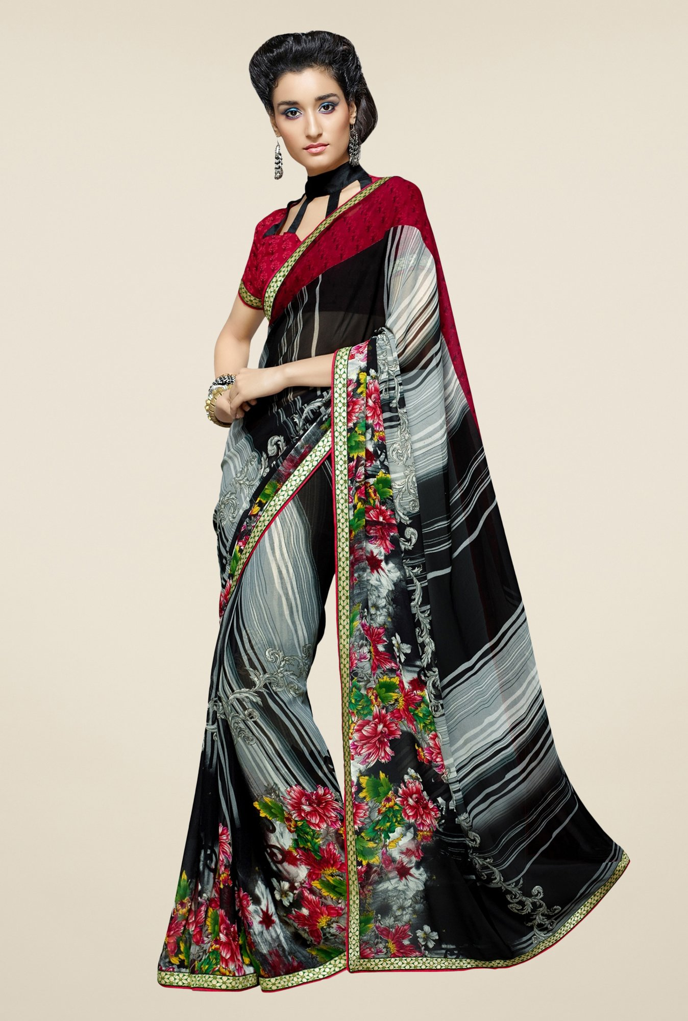 Triveni Black & Grey Floral Print Faux Georgette Saree