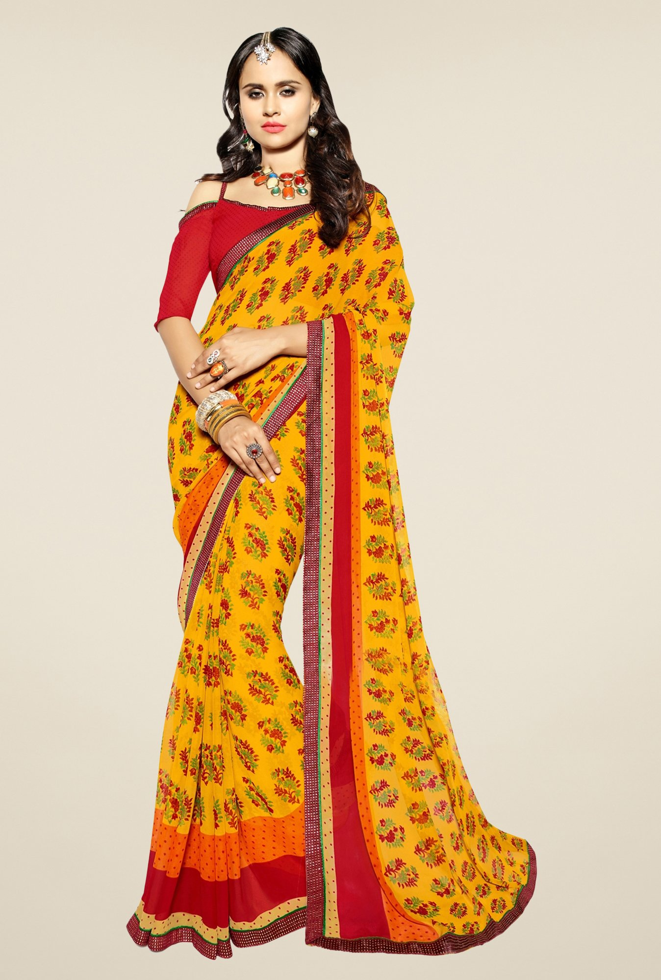 Triveni Yellow Floral Print Faux Georgette Saree
