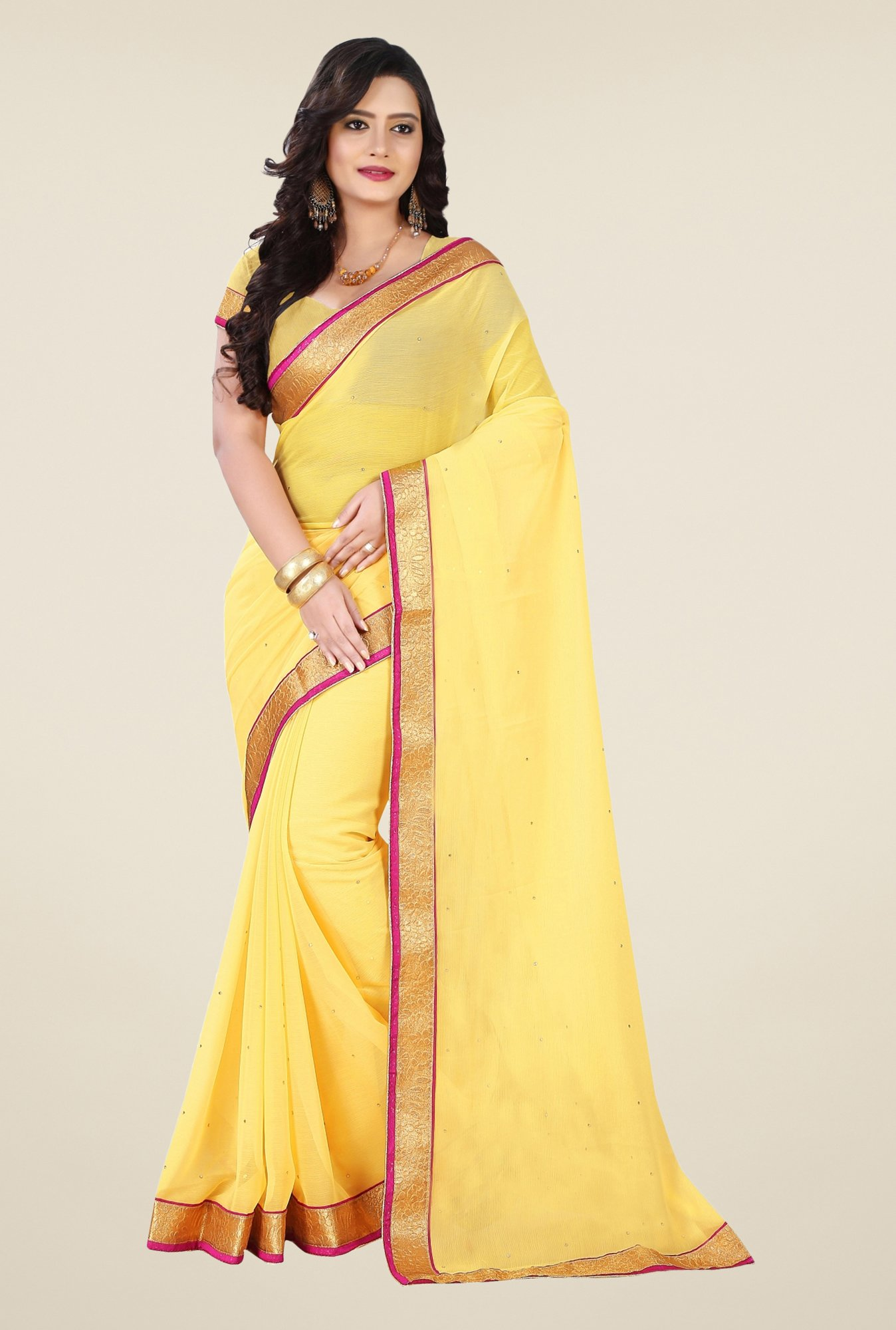 Triveni Yellow Chiffon Saree