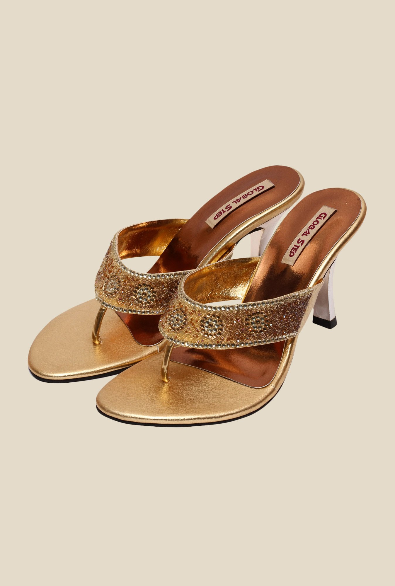 Global Step Golden Spool Heeled Thong Sandals