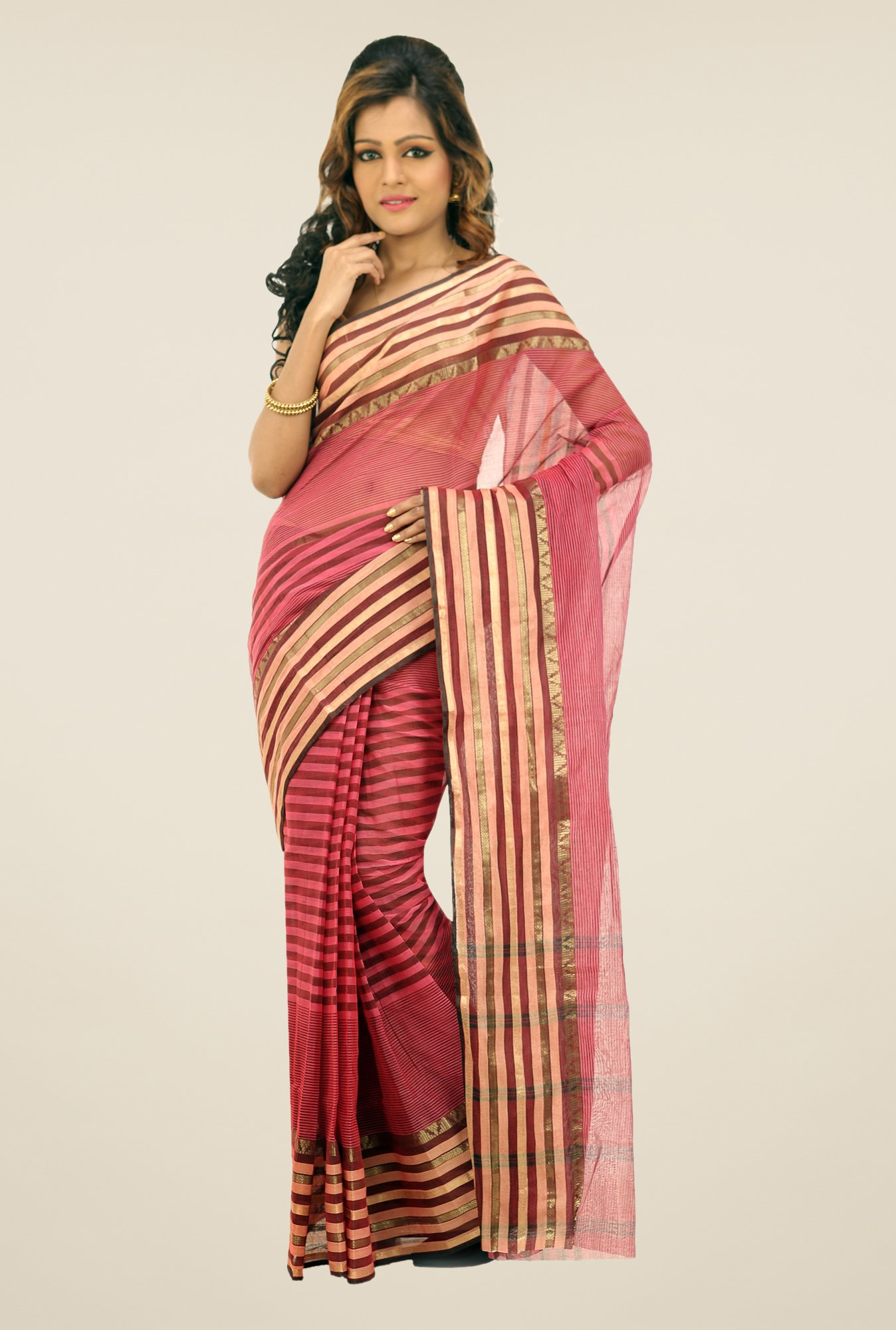 Bengal Handloom Maroon Striped Cotton Saree