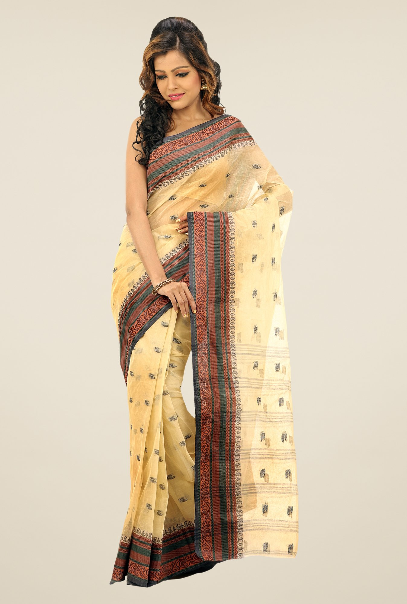 Bengal Handloom Cream Printed Cotton Saree