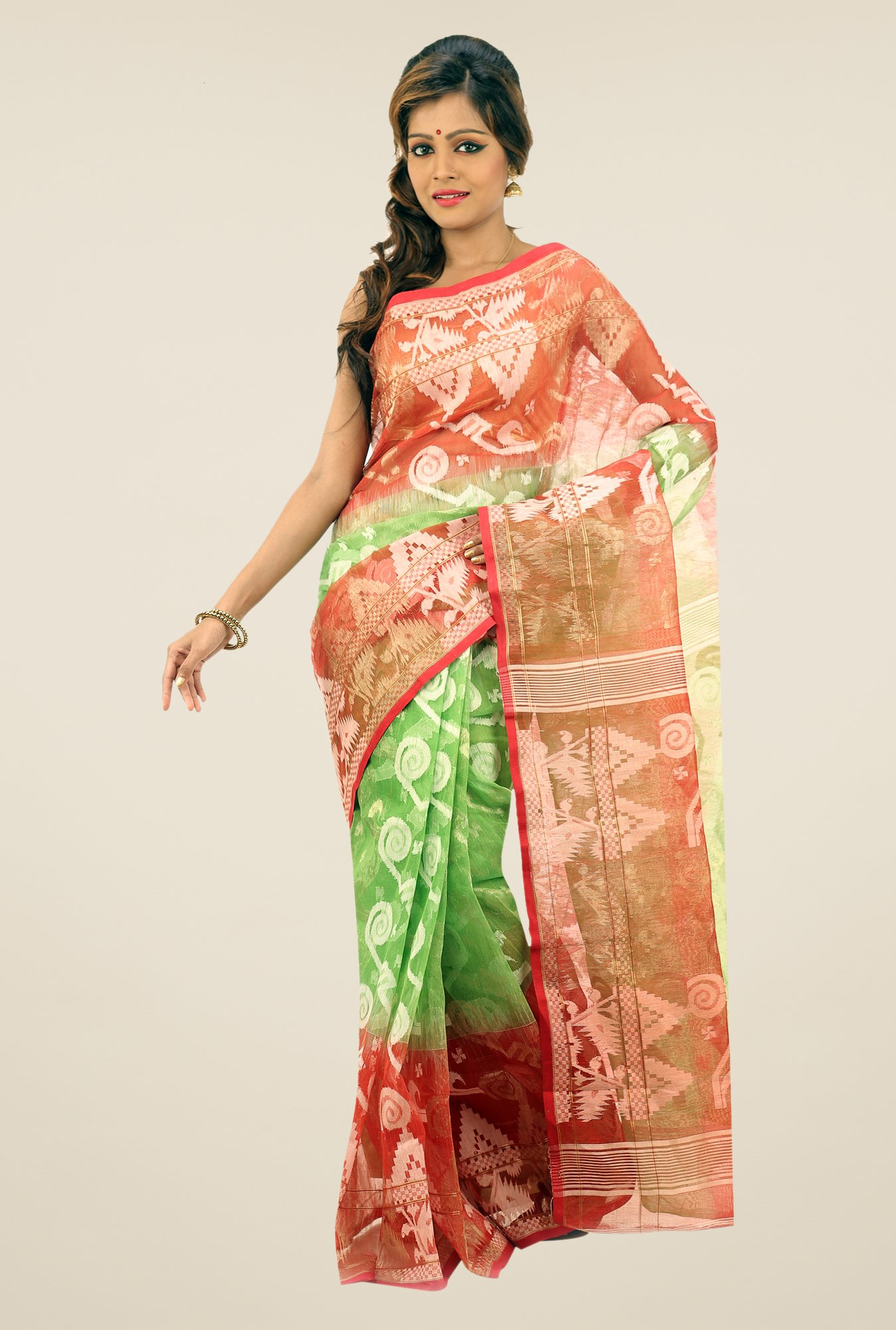 Bengal Handloom Green & Red Printed Silk Saree