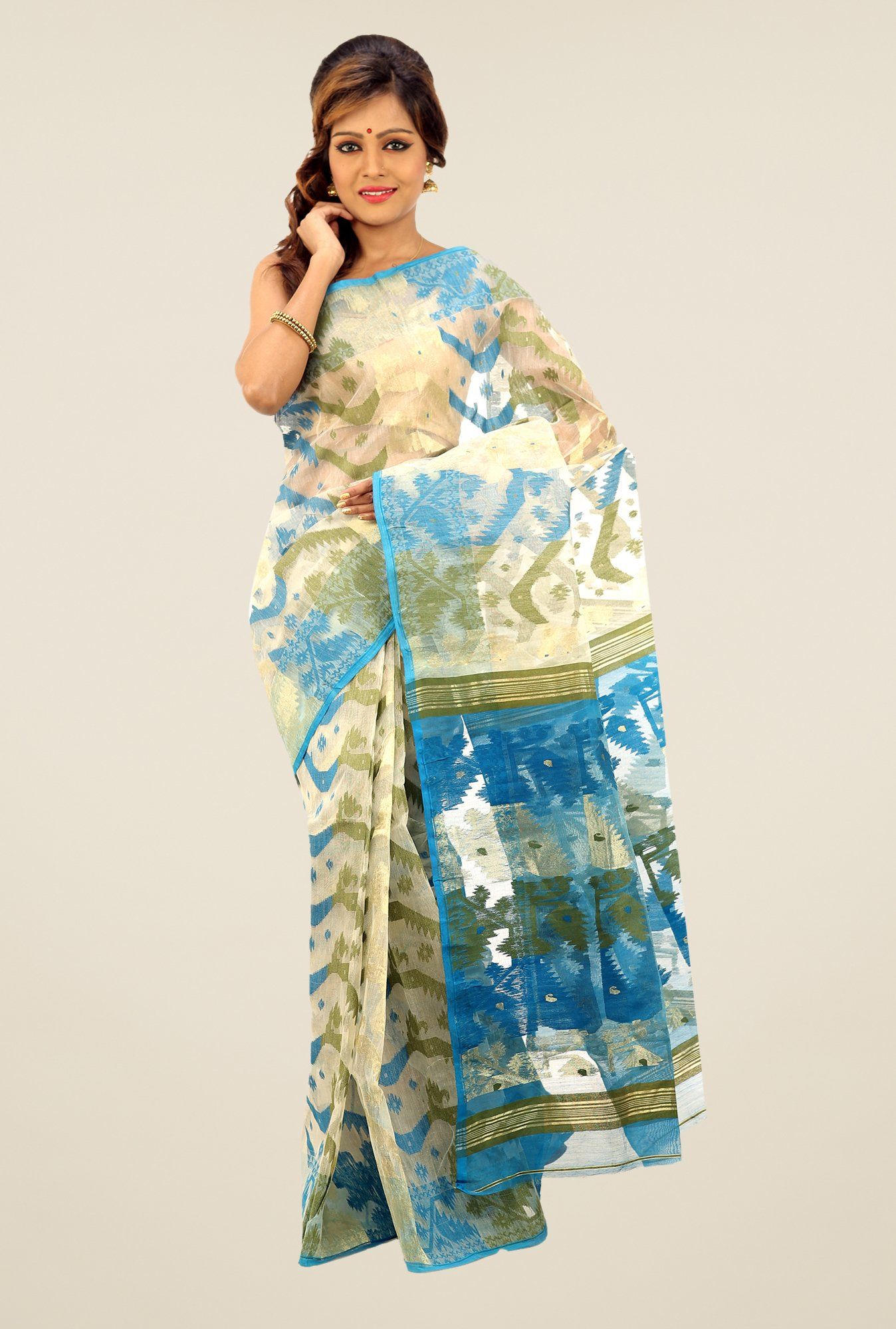 Bengal Handloom Beige & Blue Printed Silk Saree