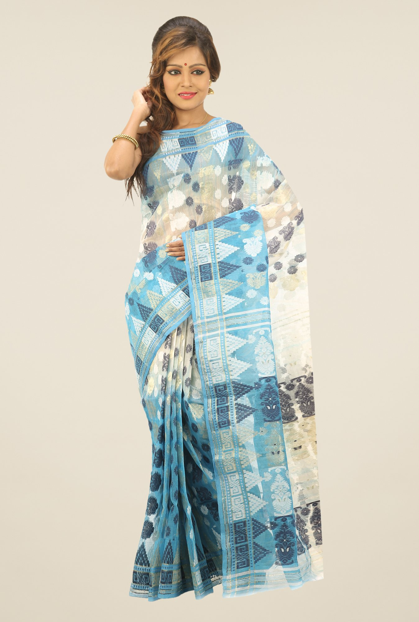 Bengal Handloom Blue & Beige Printed Silk Saree