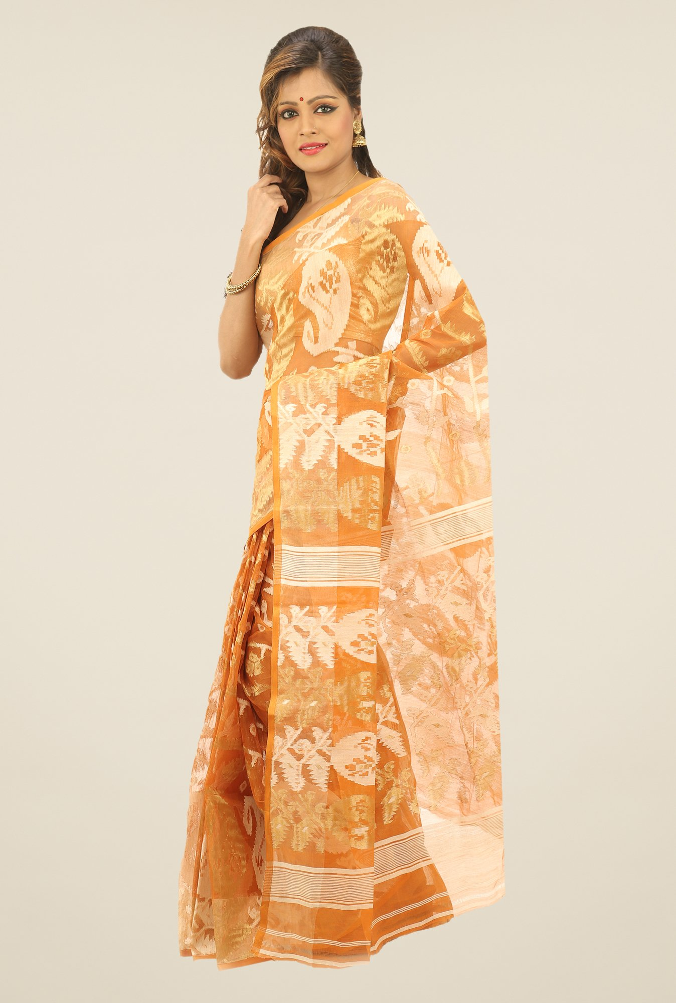 Bengal Handloom Orange Printed Silk Saree