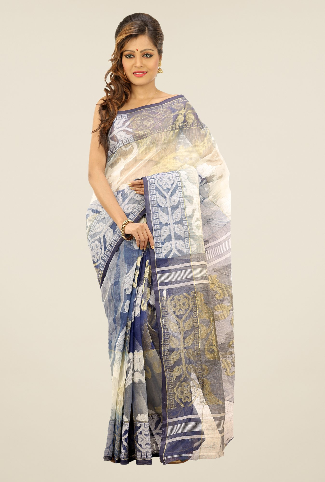 Bengal Handloom Navy & Beige Printed Silk Saree
