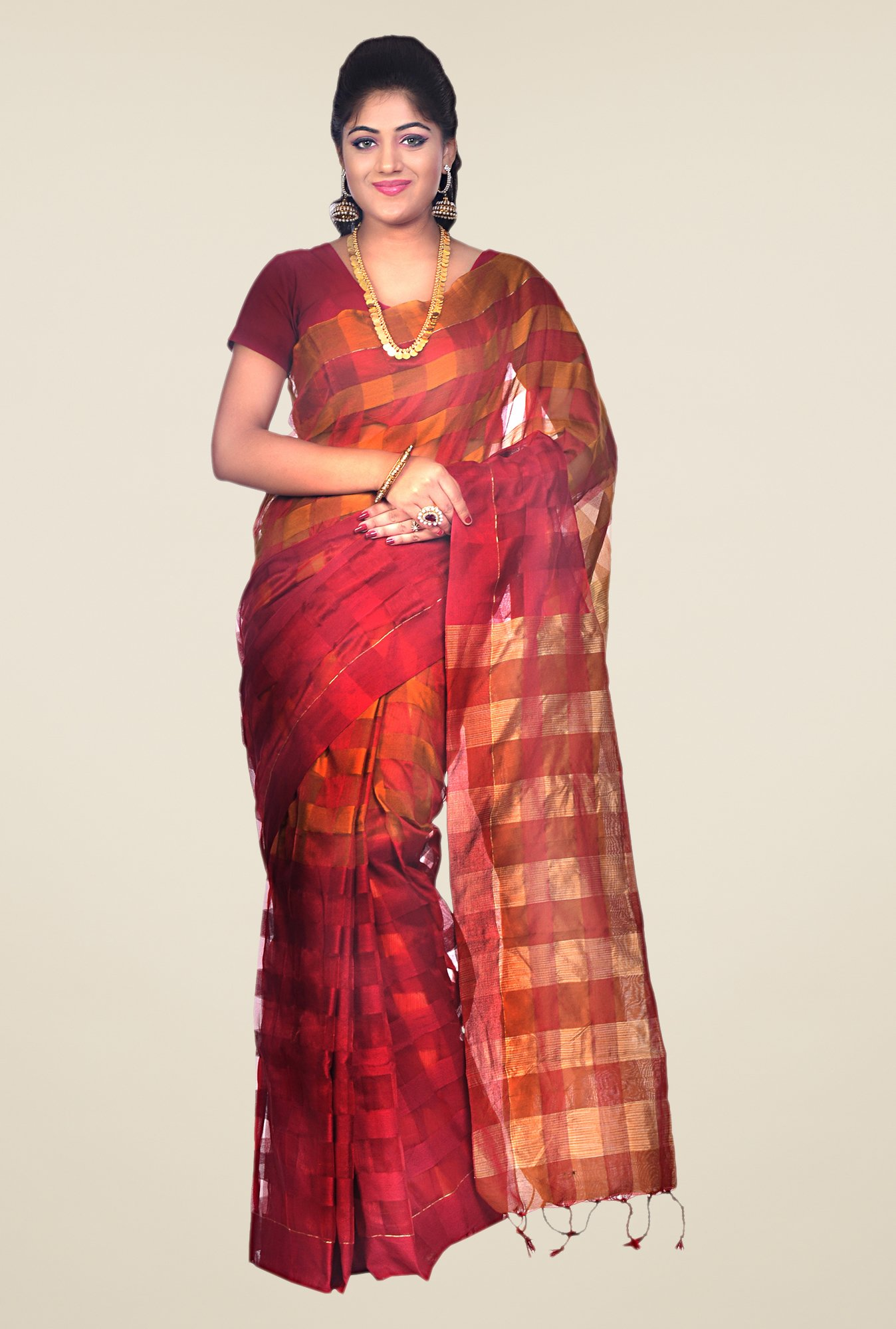 Bengal Handloom Maroon & Mustard Cotton Silk Checked Saree
