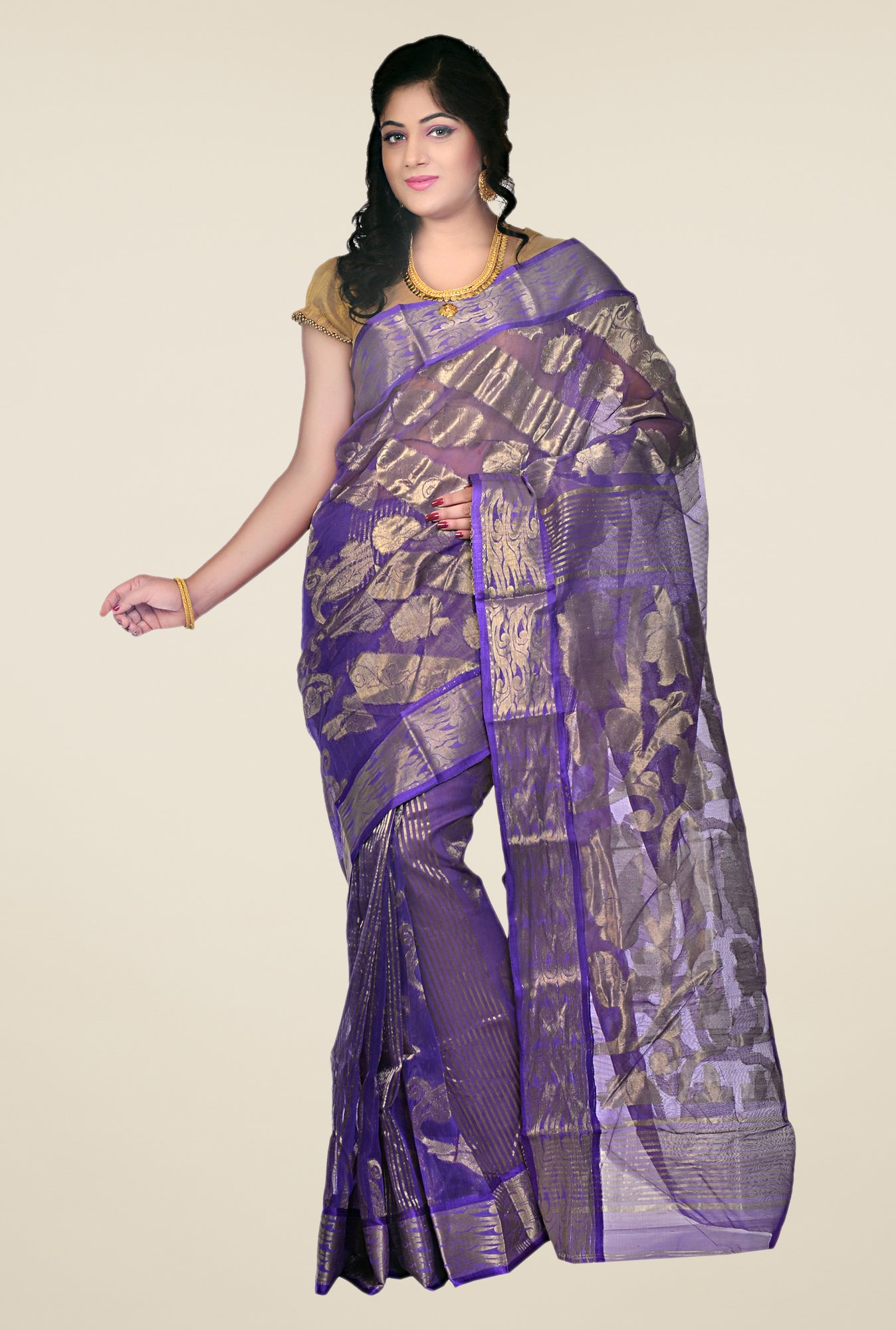 Bengal Handloom Purple Resham Silk Saree