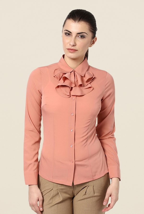 Kaaryah Peach Solid Shirt