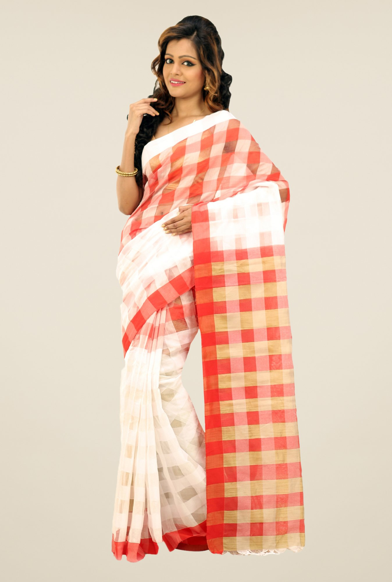 Bengal Handloom White & Red Cotton Silk Checked Saree