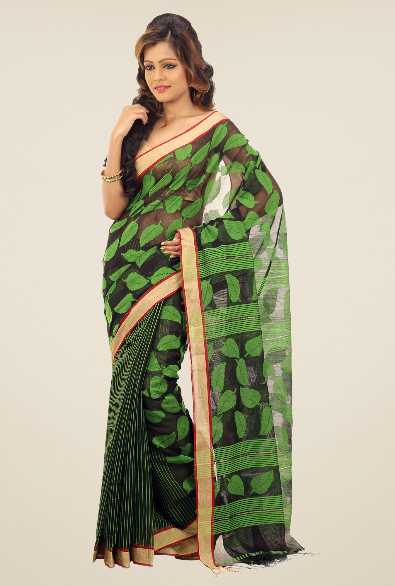 Bengal Handloom Black & Green Chora Pata Cotton Silk Saree
