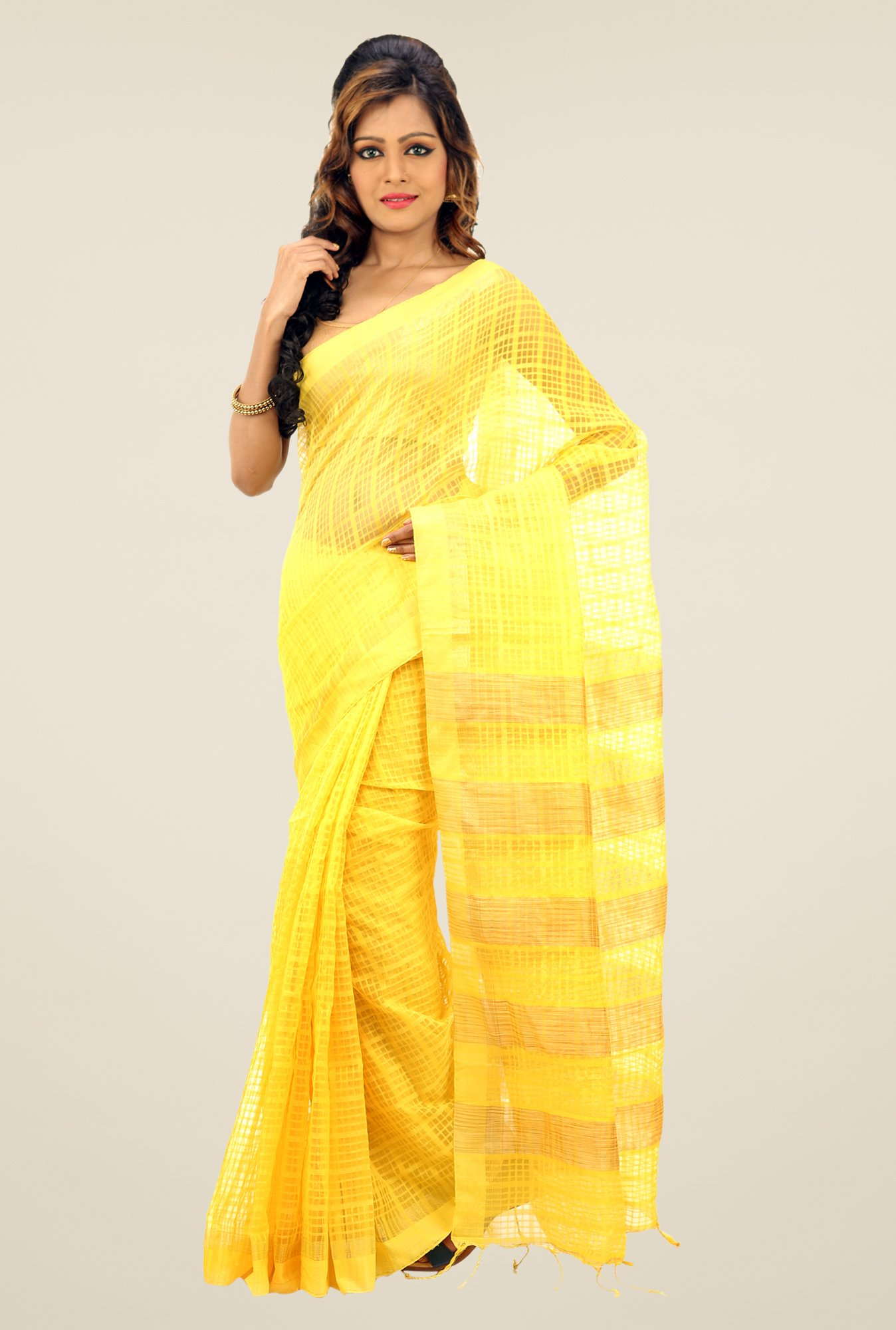 Bengal Handloom Yellow Net Cotton Silk Saree