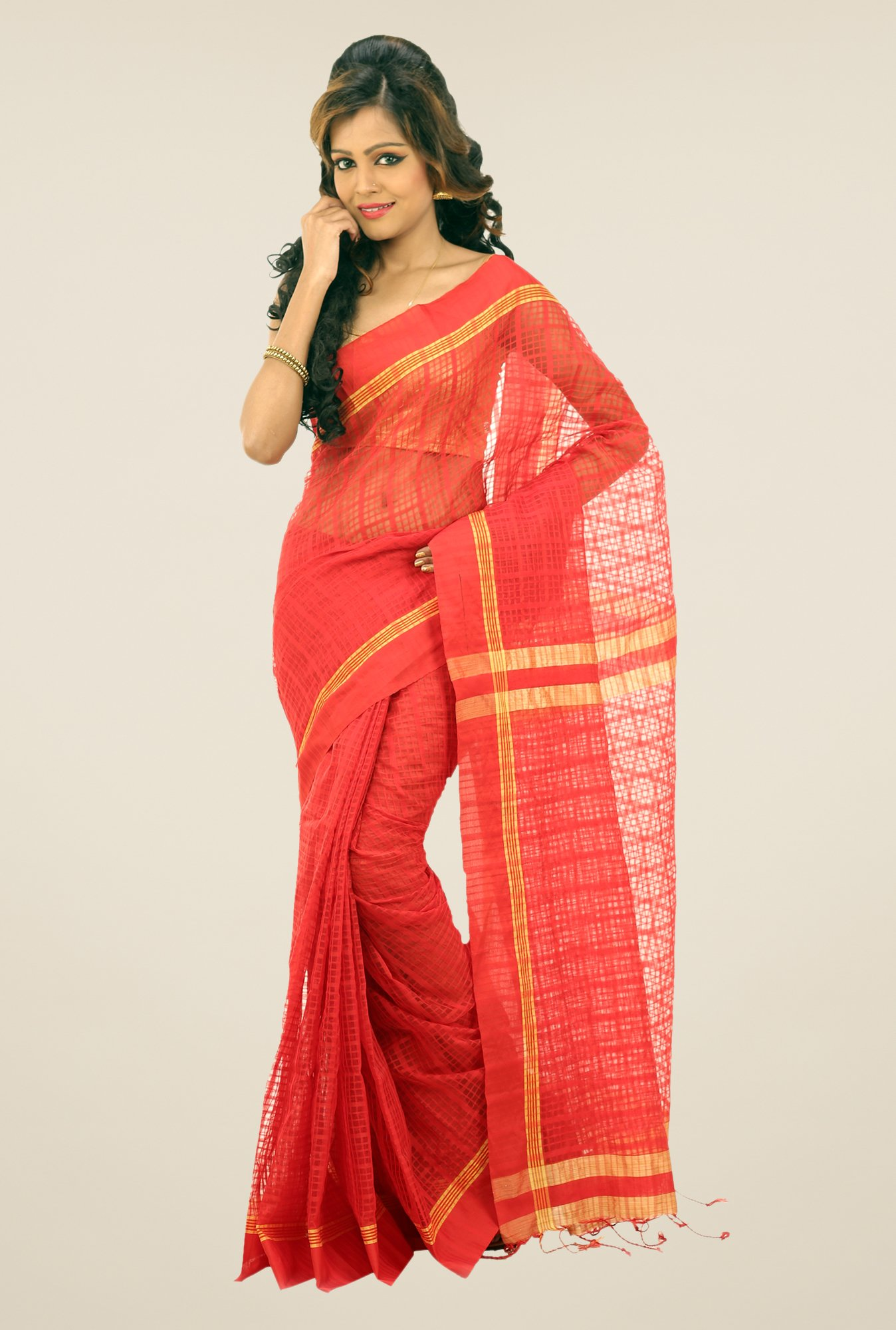 Bengal Handloom Red Net Cotton Silk Saree
