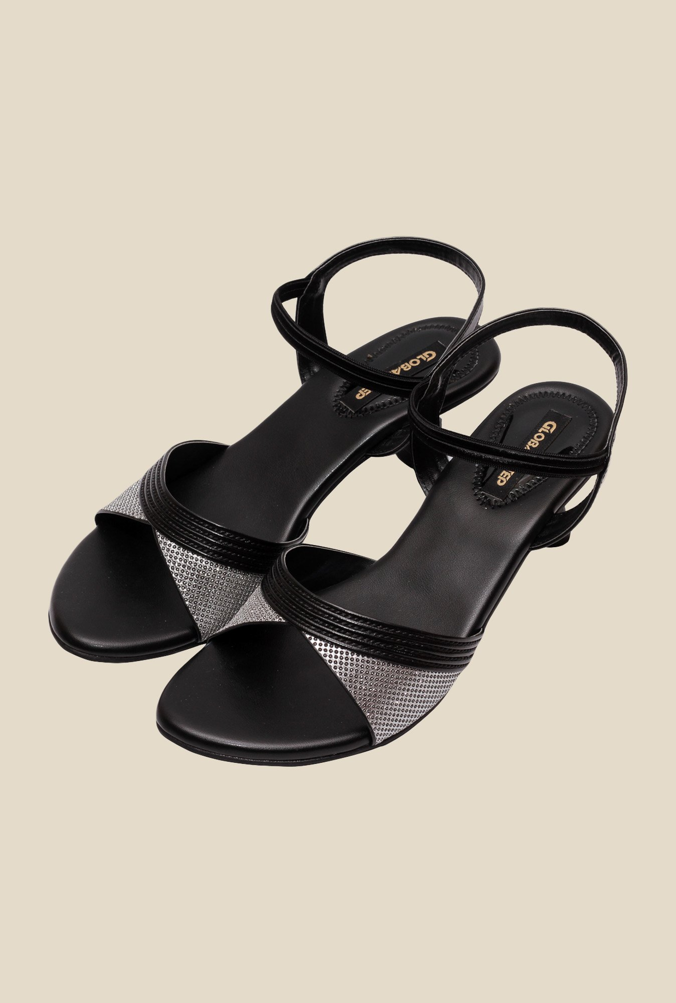 Global Step Black Sling Back Sandals