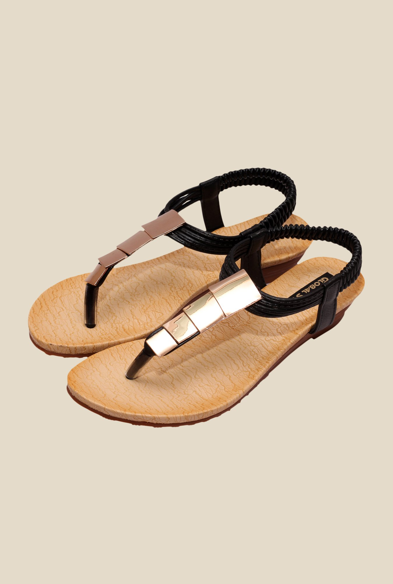Global Step Black & Golden Sling Back Sandals