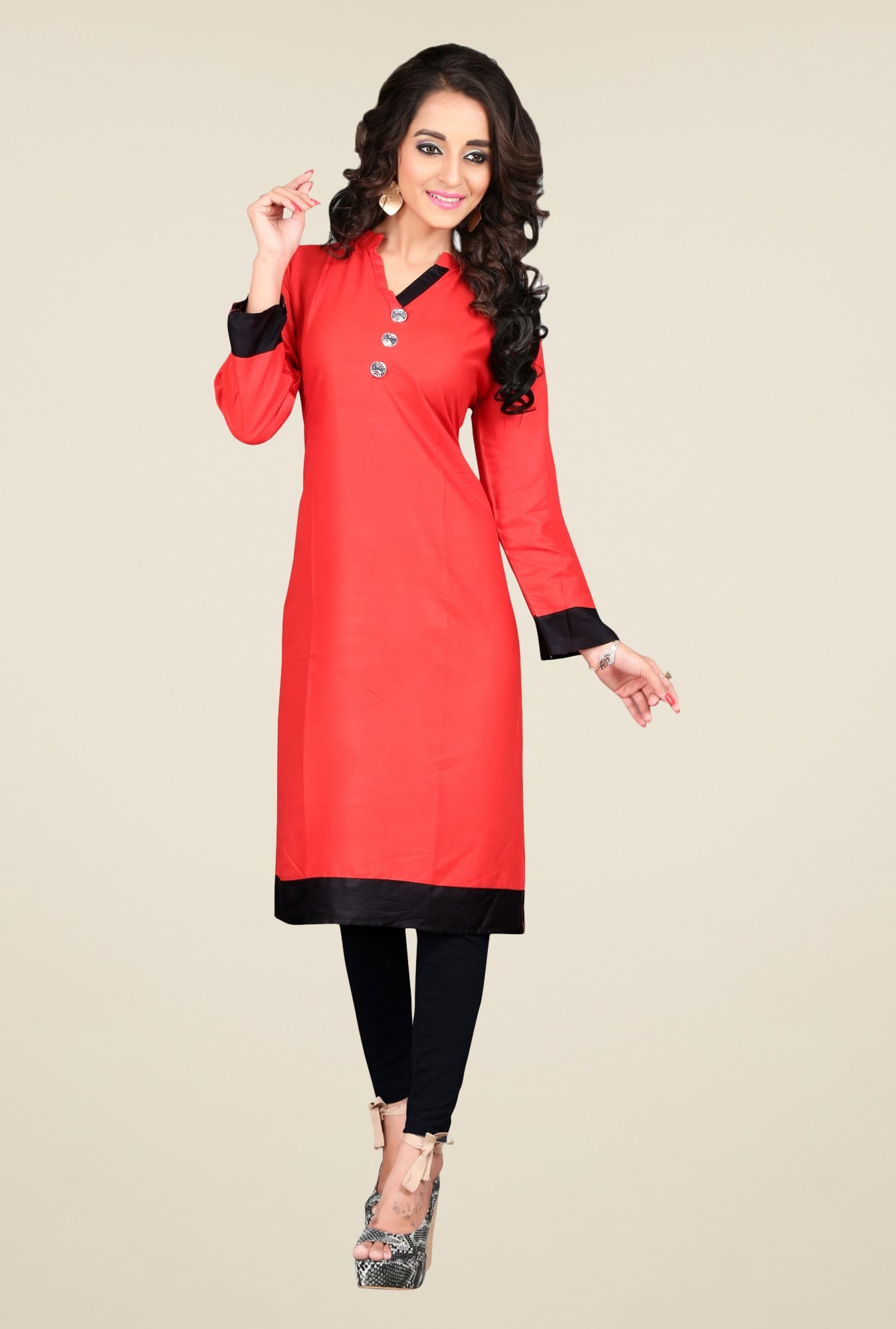 Triveni Coral Solid Cotton Kurta