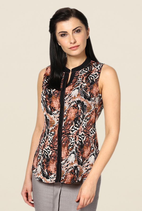 Kaaryah Brown Animal Print Top