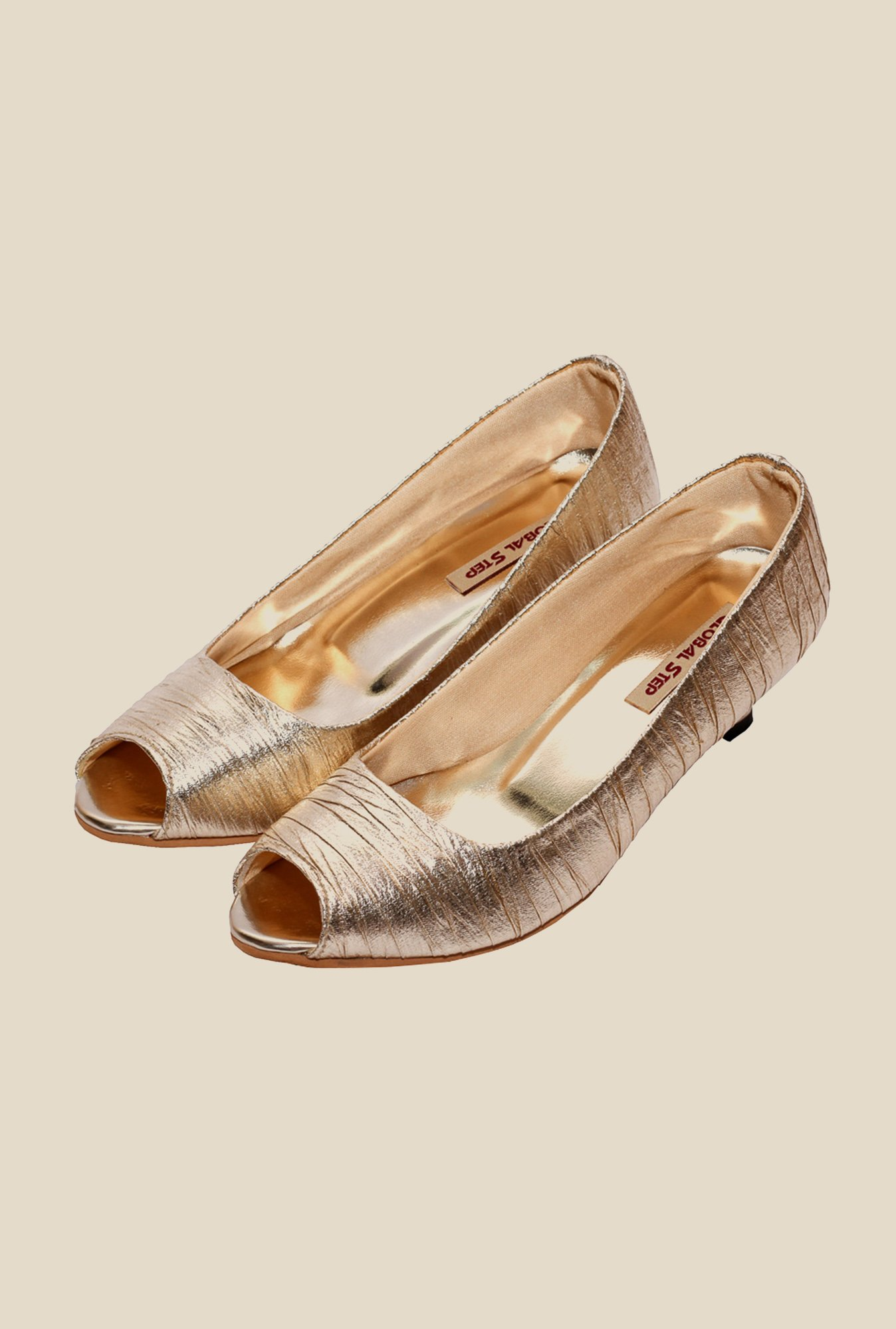 Global Step Golden Peeptoe Shoes