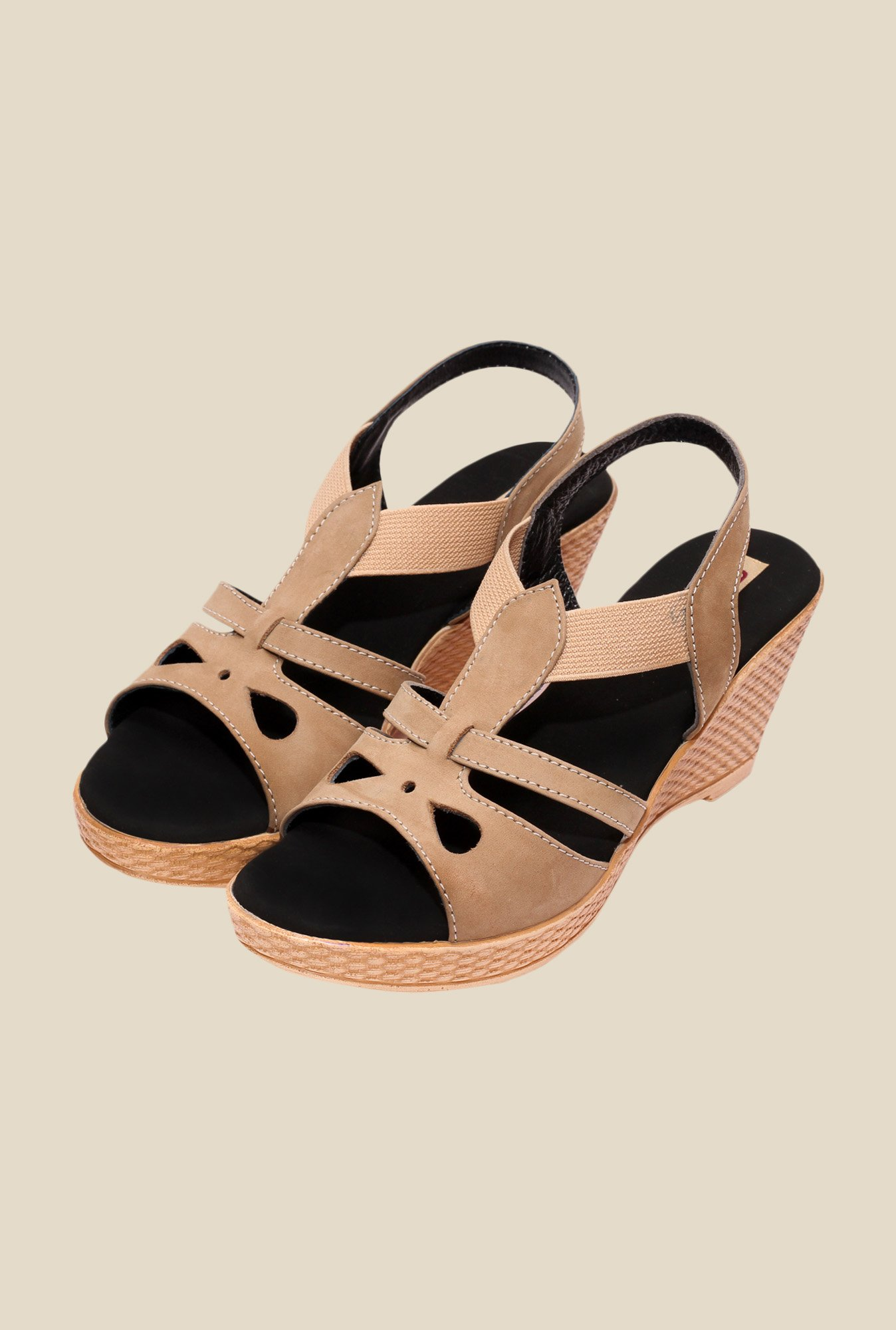 Global Step Beige Sling Back Wedges