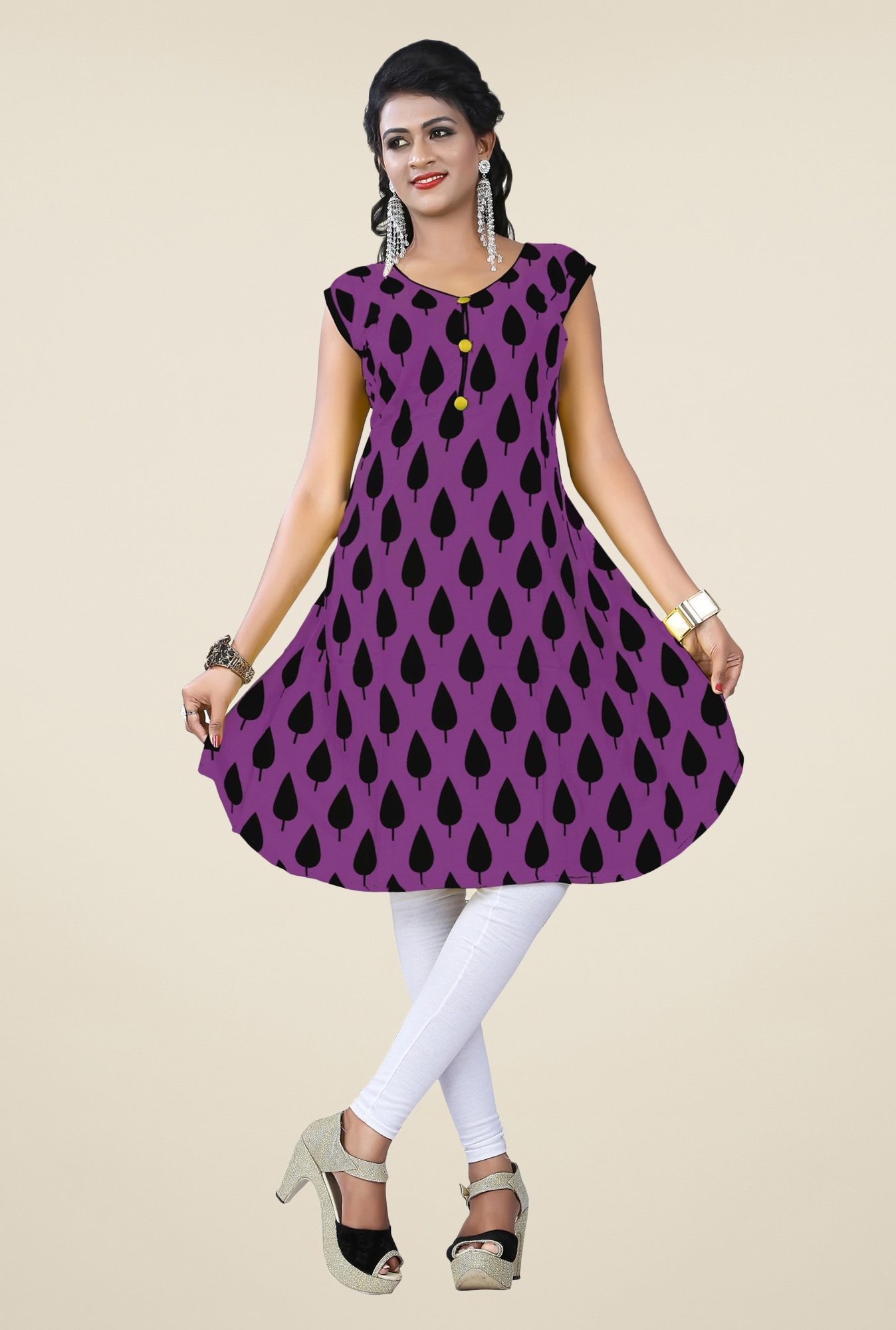Triveni Purple Printed Kurta