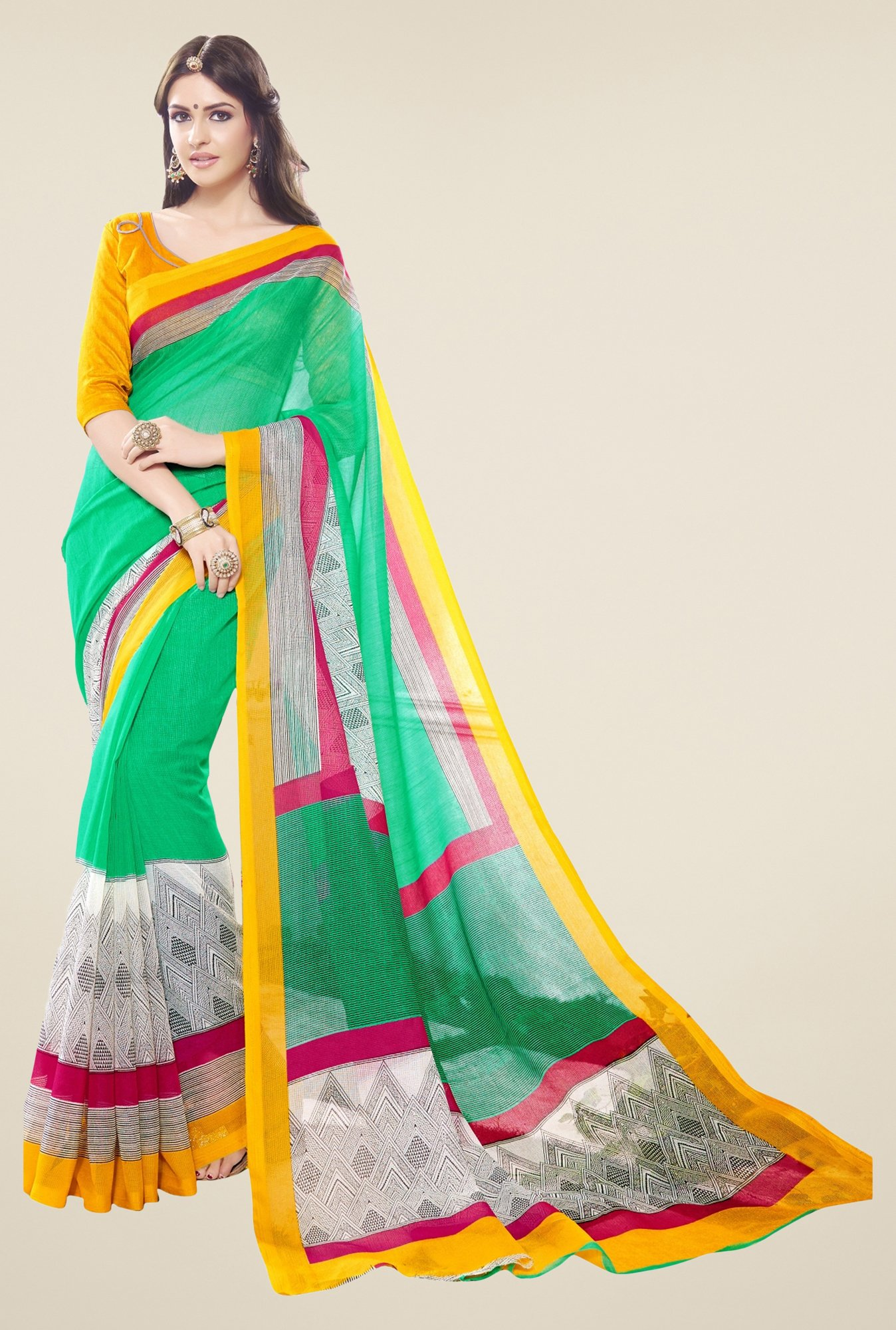 Triveni Green & White Printed Supernet Saree