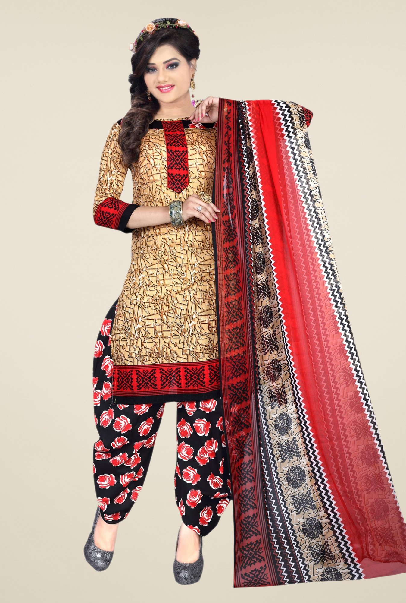 Triveni Beige & Black Printed Dress Material