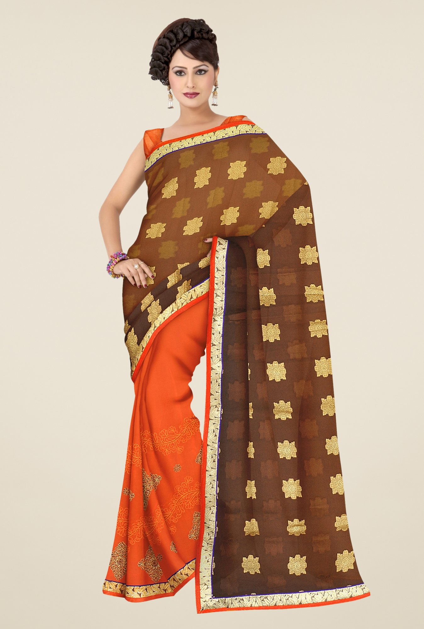 Triveni Orange & Brown Printed Faux Georgette Saree