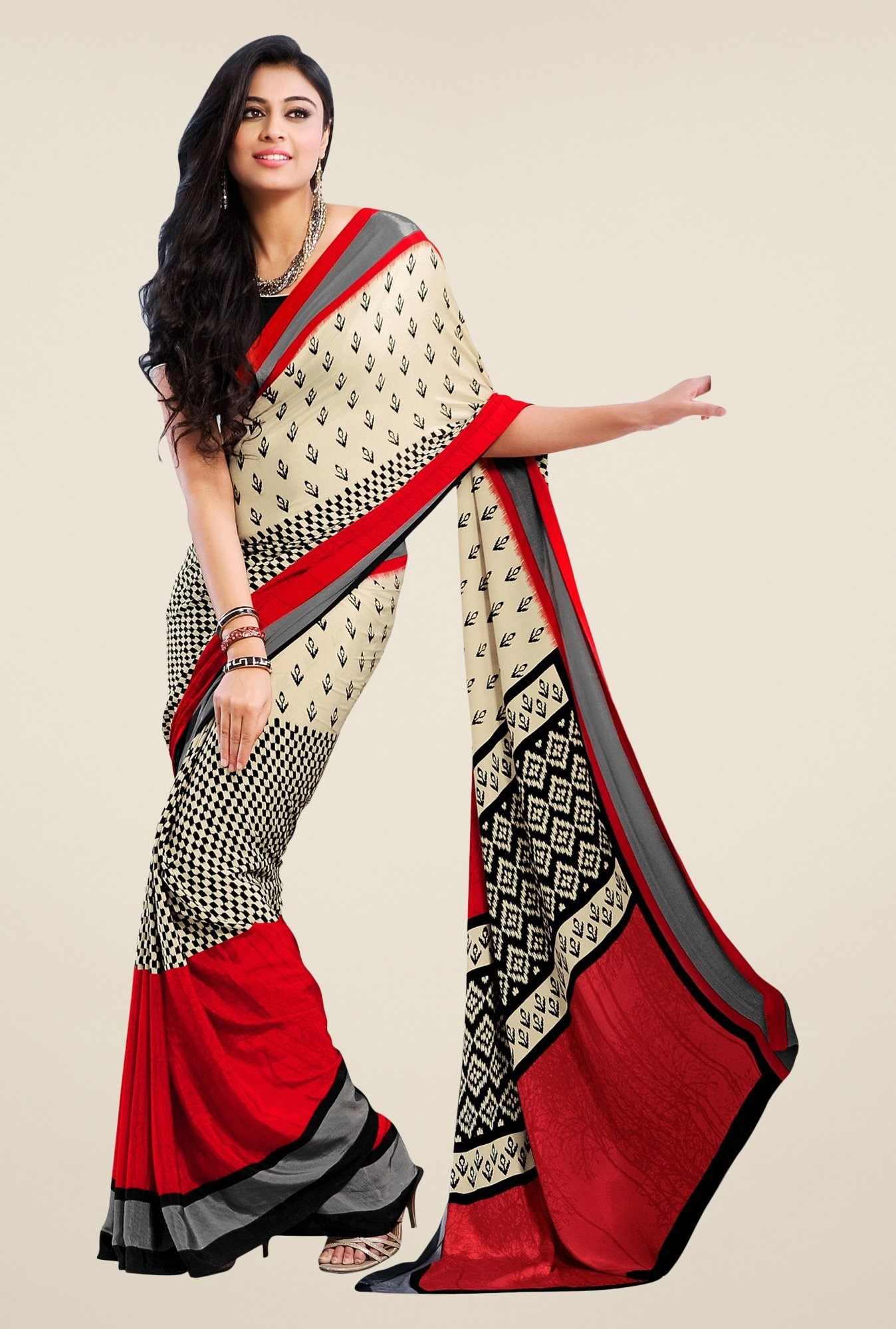 Triveni Beige & Red Printed Crepe Saree