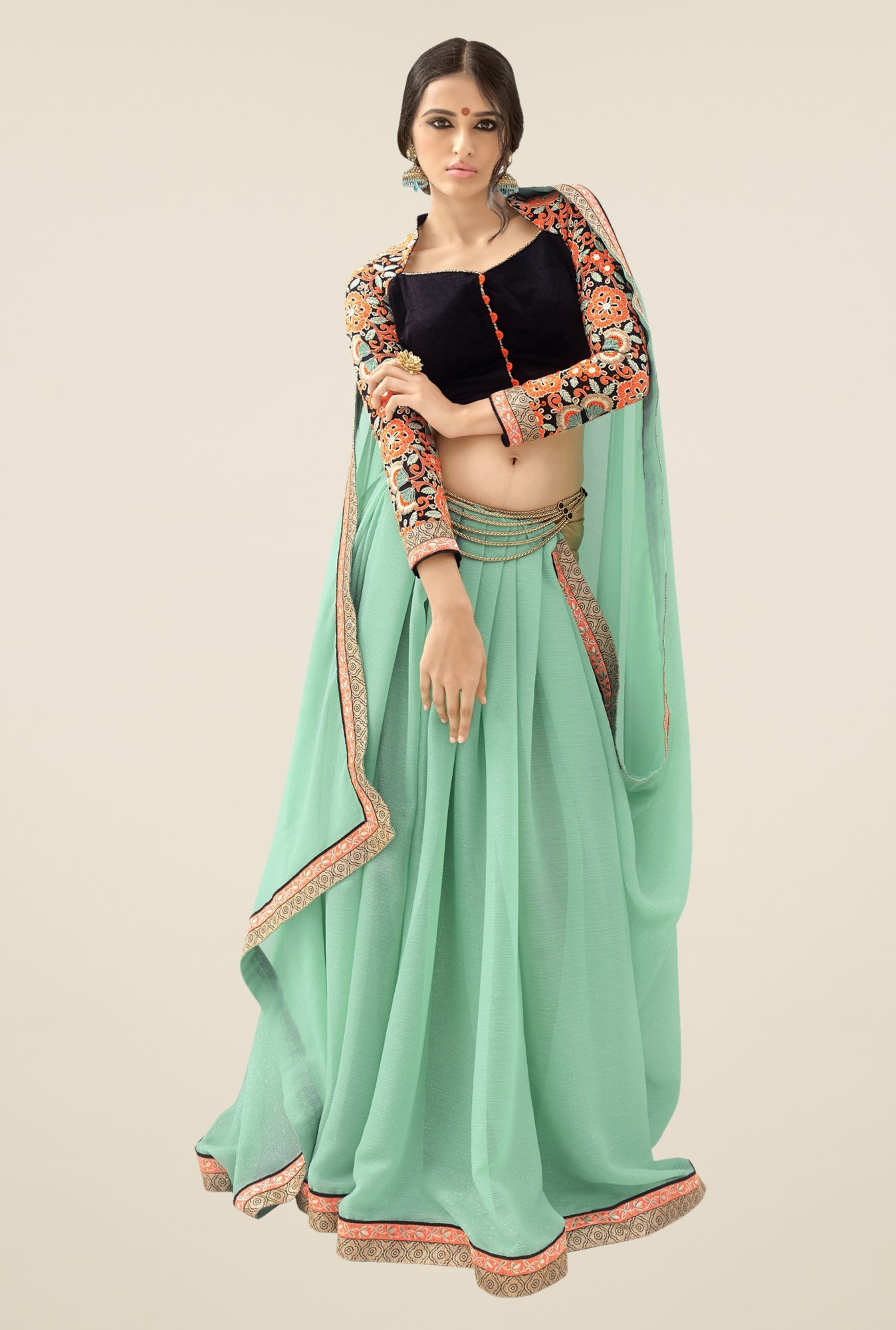 Triveni Green Solid Shimmer & Faux Georgette Saree