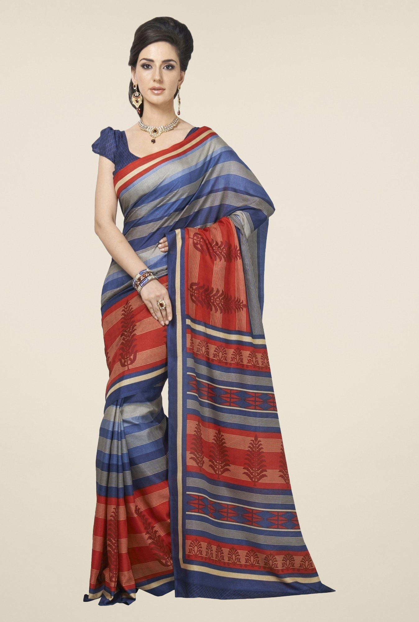 Triveni Navy & Maroon Striped Art Silk Saree