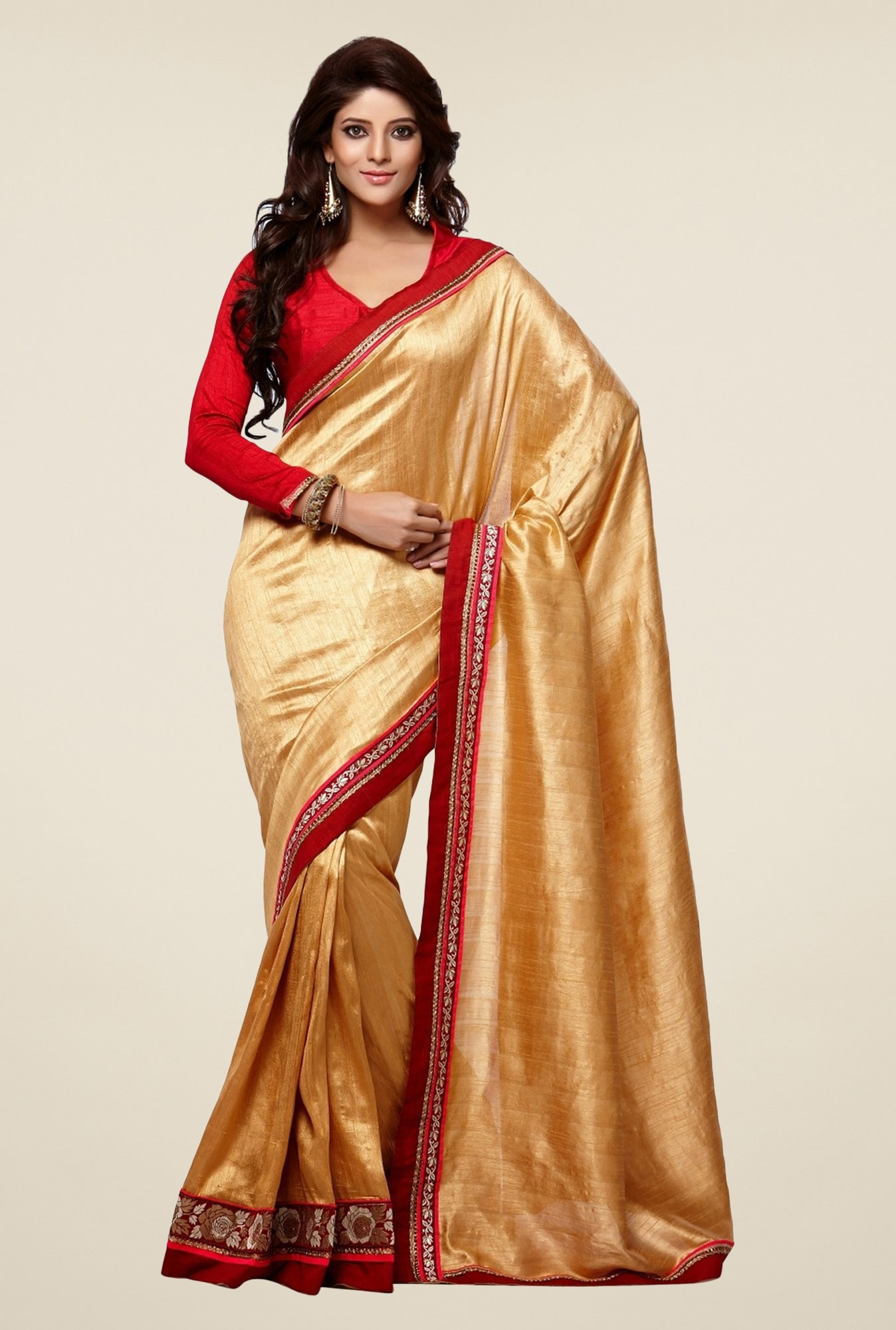 Triveni Gold Solid Manipuri Silk Saree