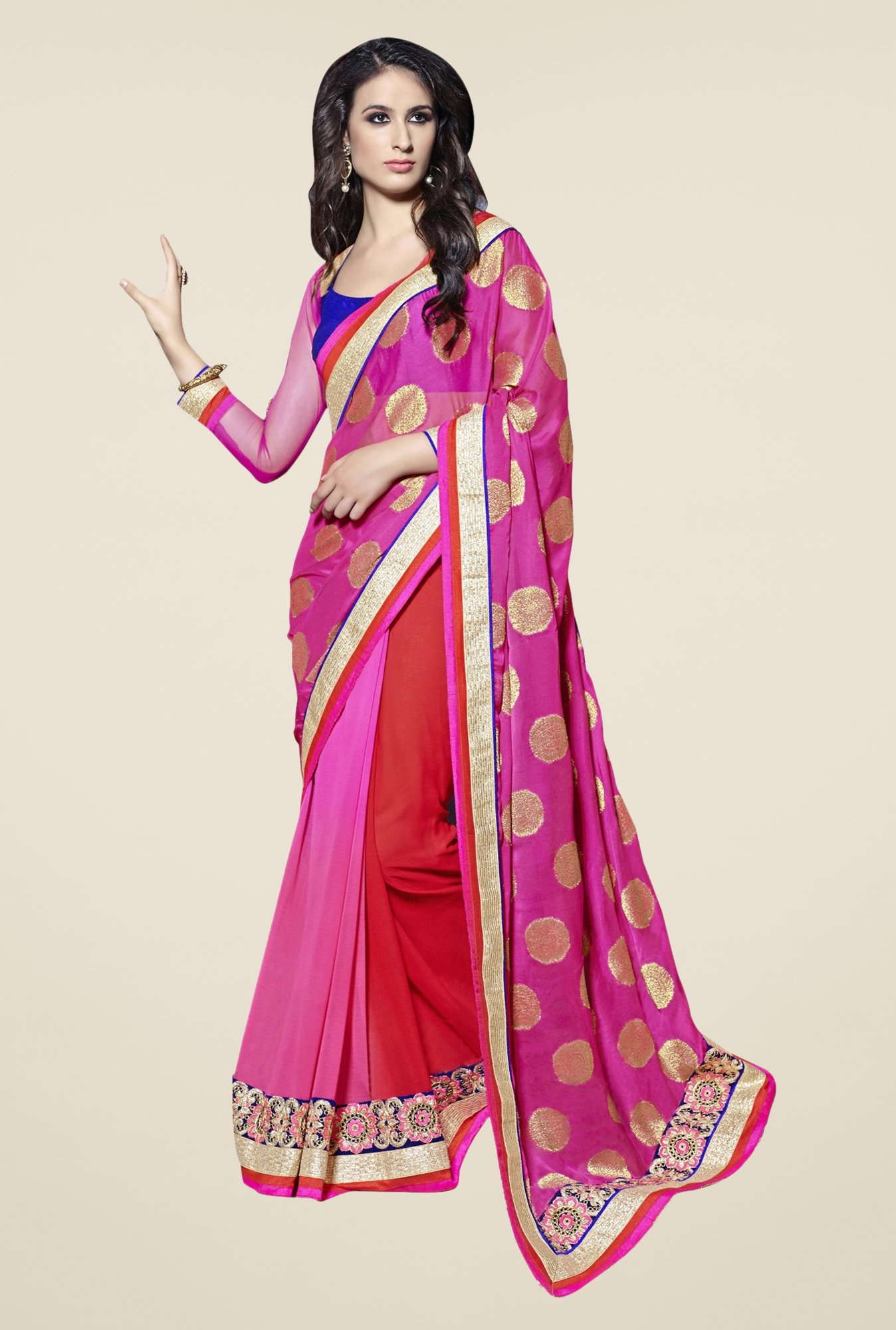 Triveni Pink & Red Printed Chiffon Saree