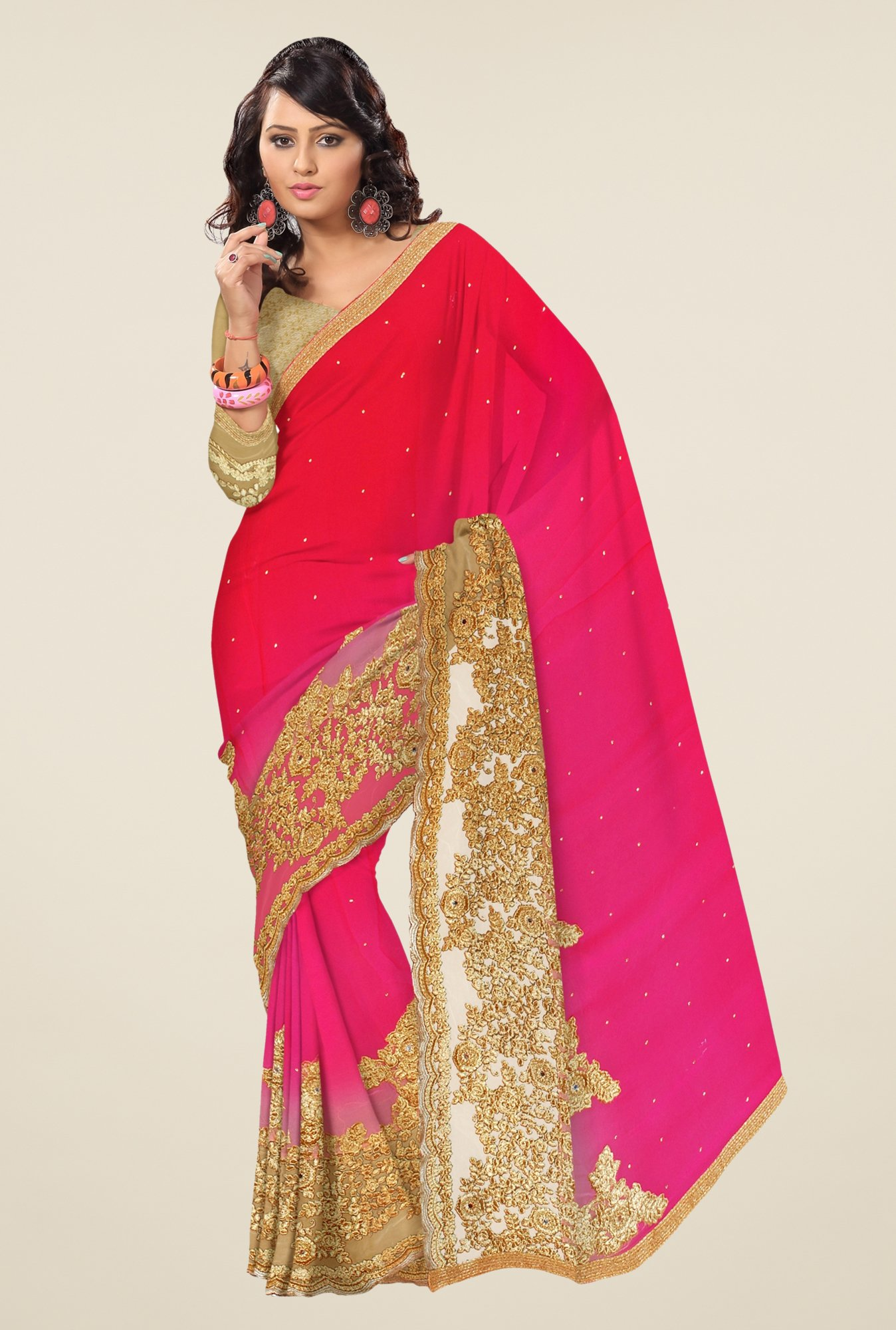 Triveni Magenta & Red Embroidered Faux Georgette Saree