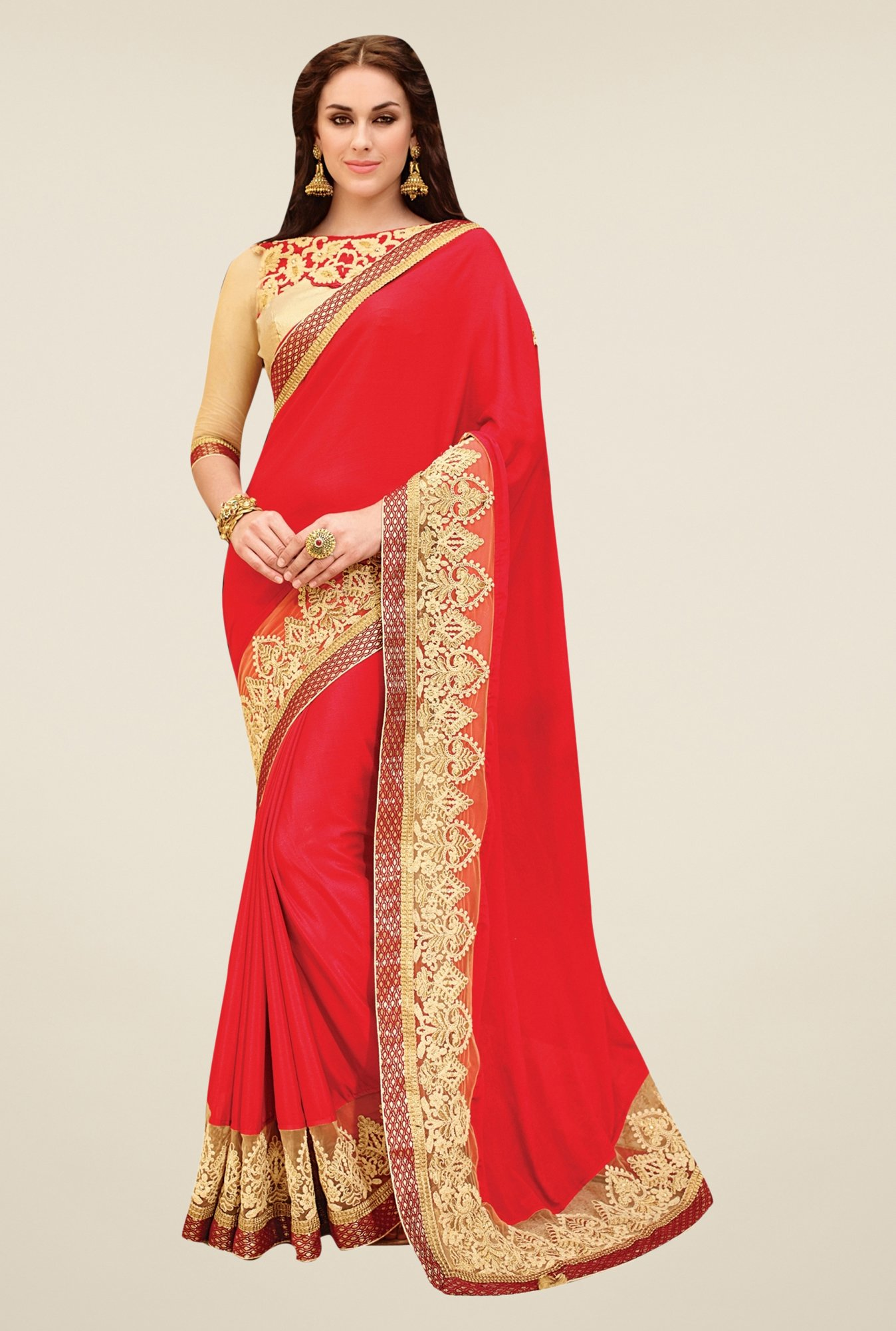 Triveni Coral Embroidered Faux Georgette Art Silk Saree