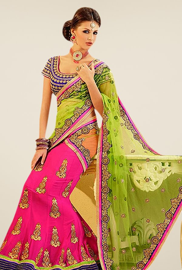 Triveni Magenta & Green Embroidered Lehenga Saree