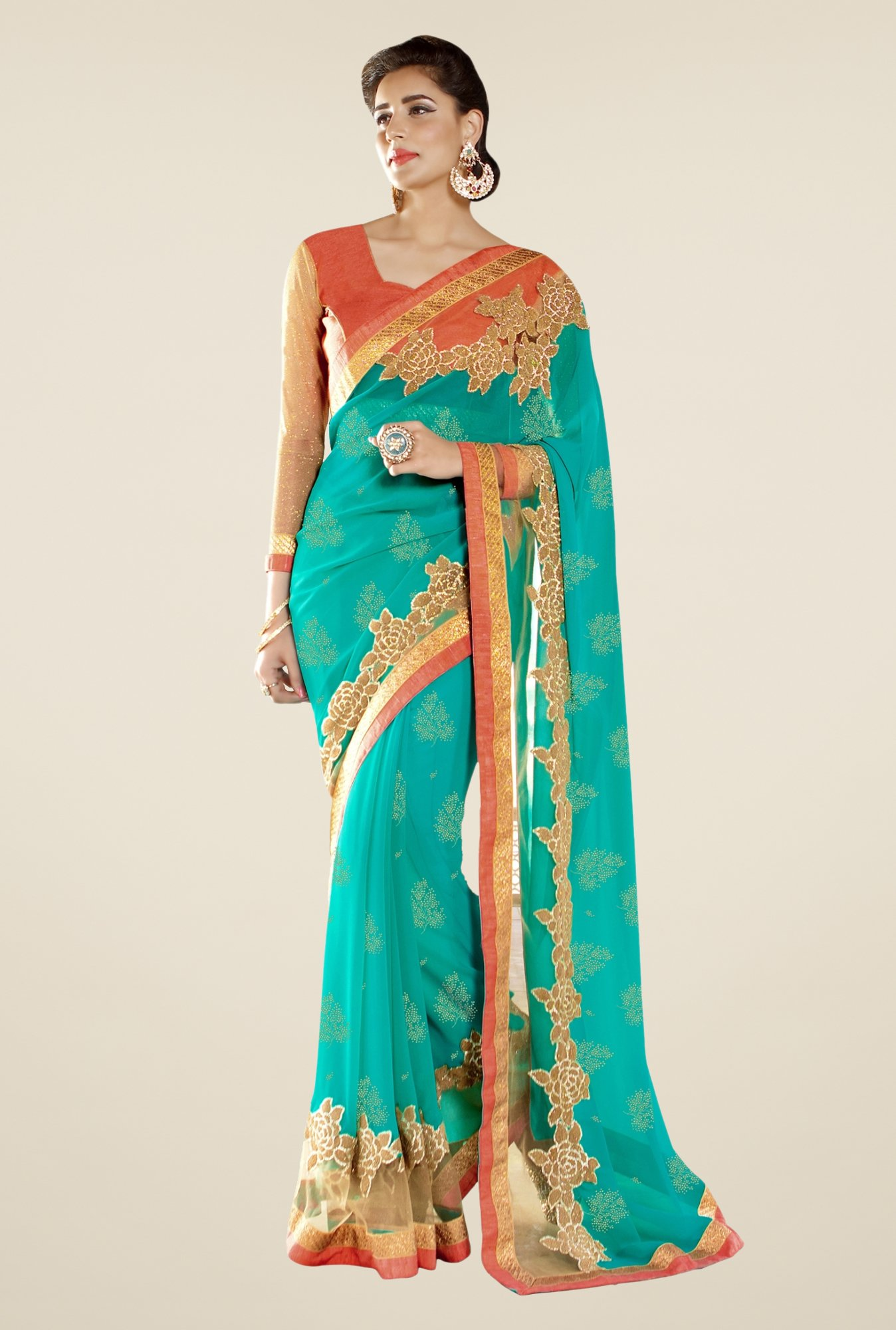 Triveni Teal Embroidered Shimmer & Faux Georgette Saree
