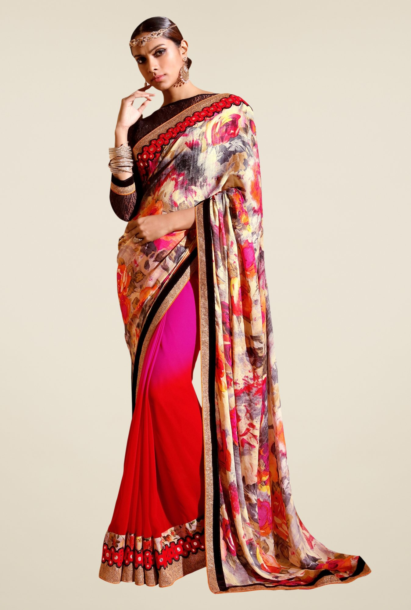 Triveni Red & Pink Printed Faux Georgette Saree