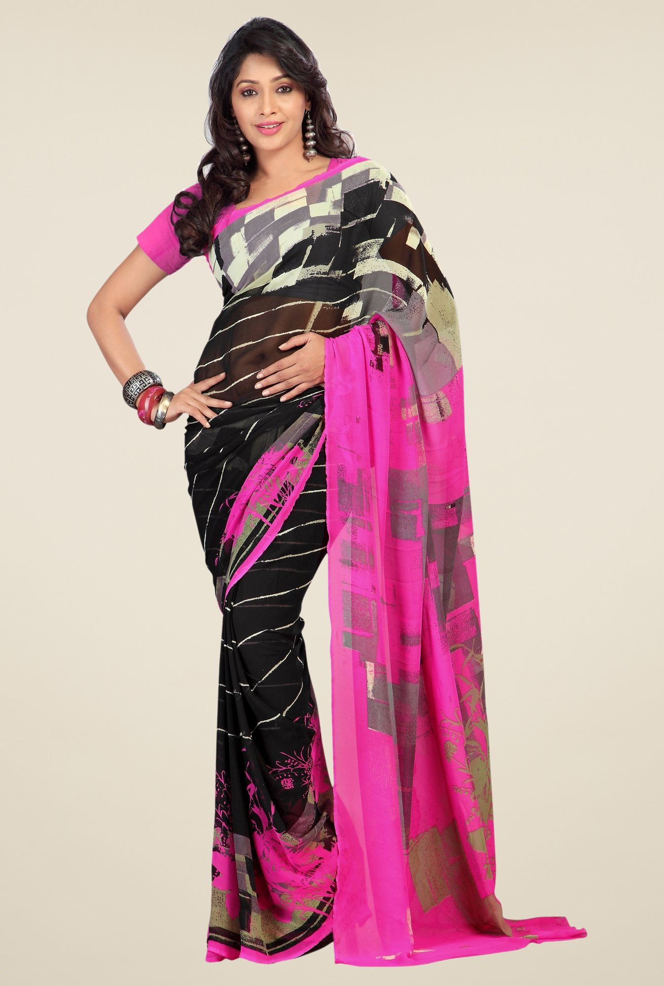 Triveni Black & Pink Printed Faux Georgette Saree