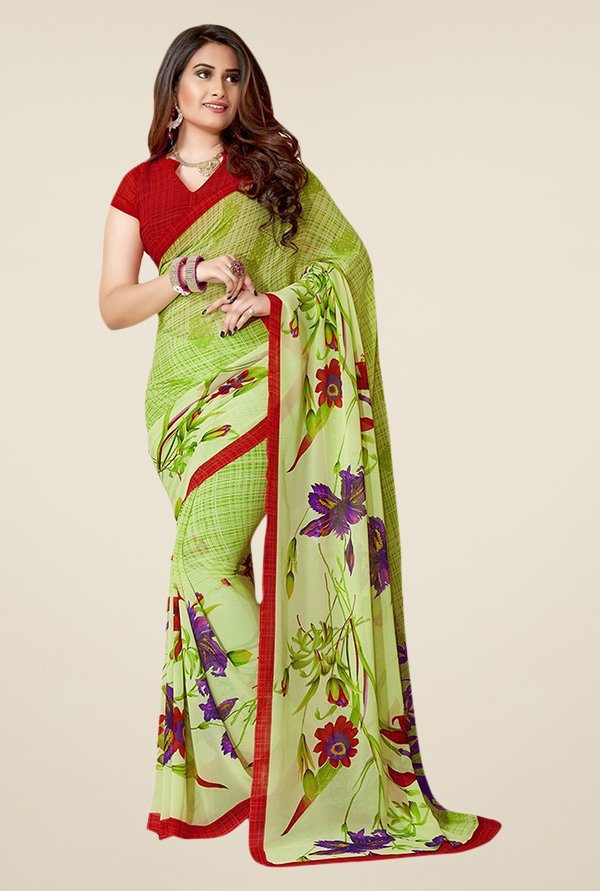 Triveni Green Printed Faux Georgette Saree