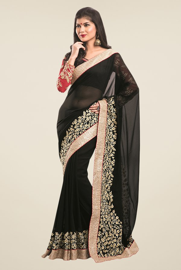 Triveni Black Embroidered Faux Georgette Saree