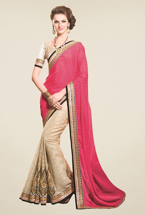 Triveni Beige & Pink Embroidered Jacquard Saree