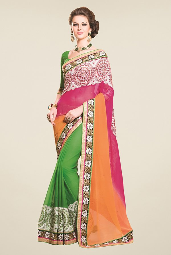 Triveni Green & Orange Embroidered Faux Georgette Saree