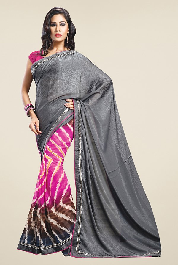Triveni Pink & Grey Printed Satin & Faux Georgette Saree