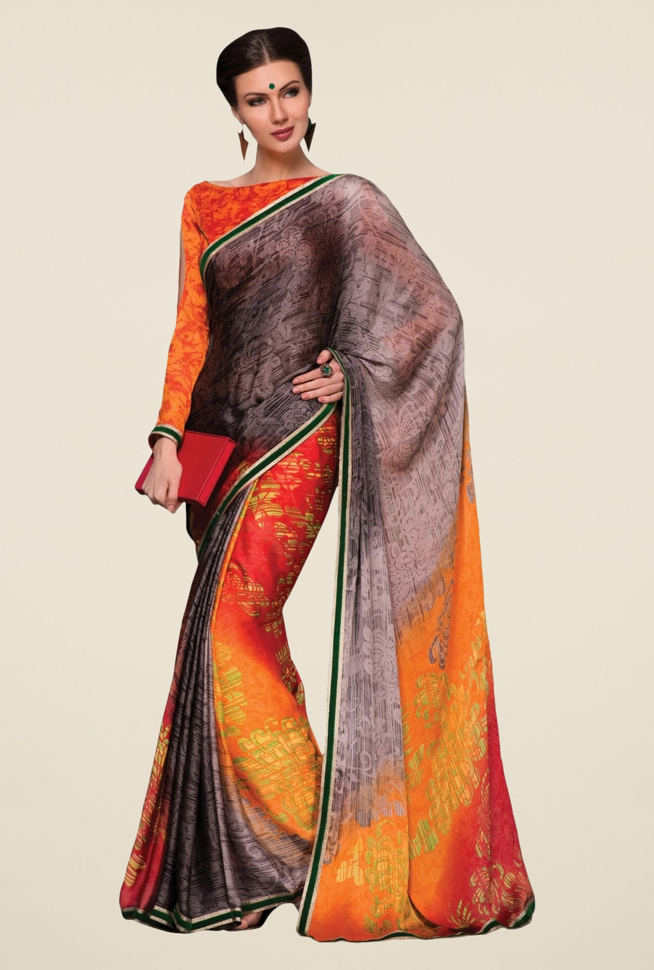 Triveni Multicolor Printed Satin & Chiffon Saree