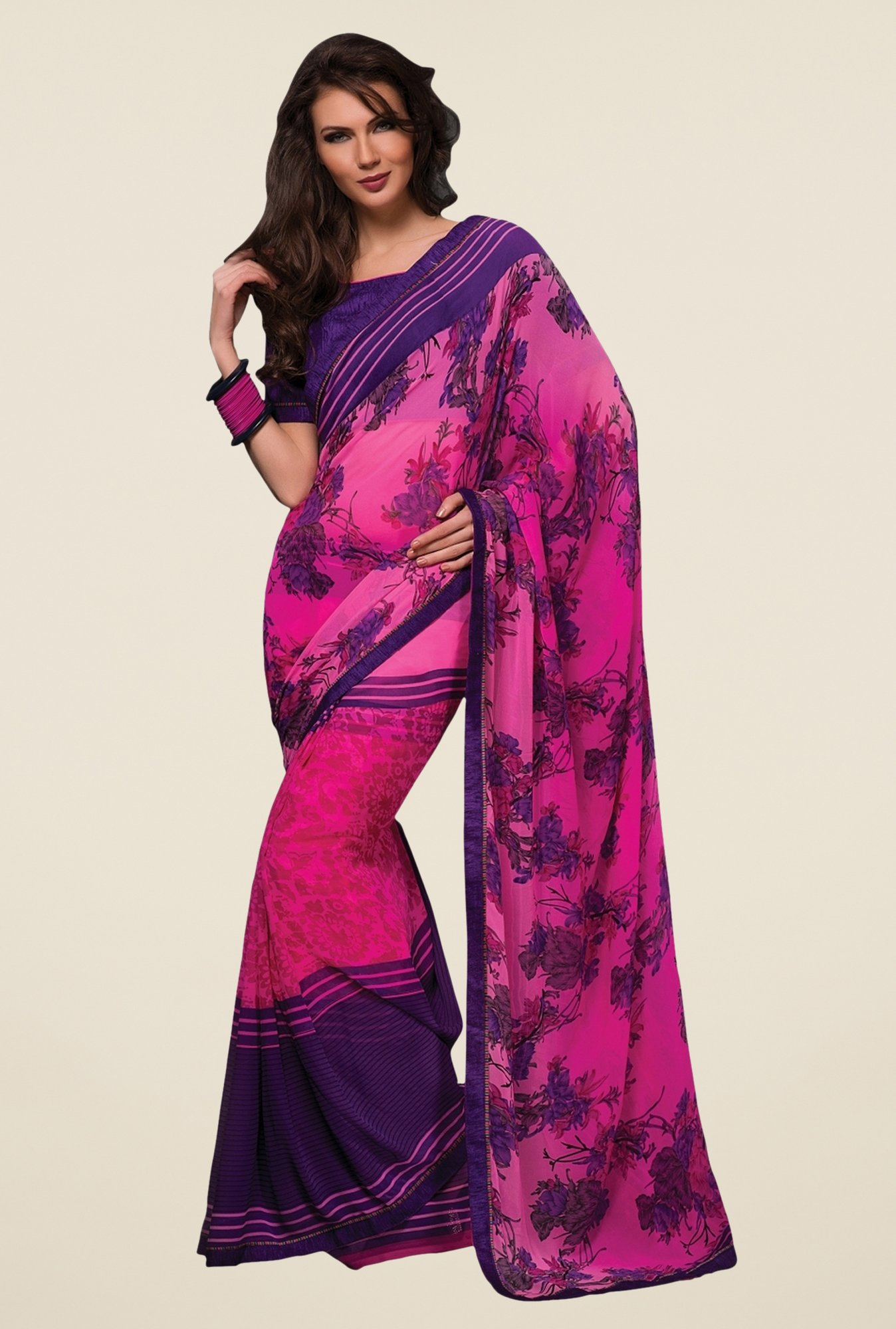 Triveni Magenta & Purple Printed Faux Georgette Saree