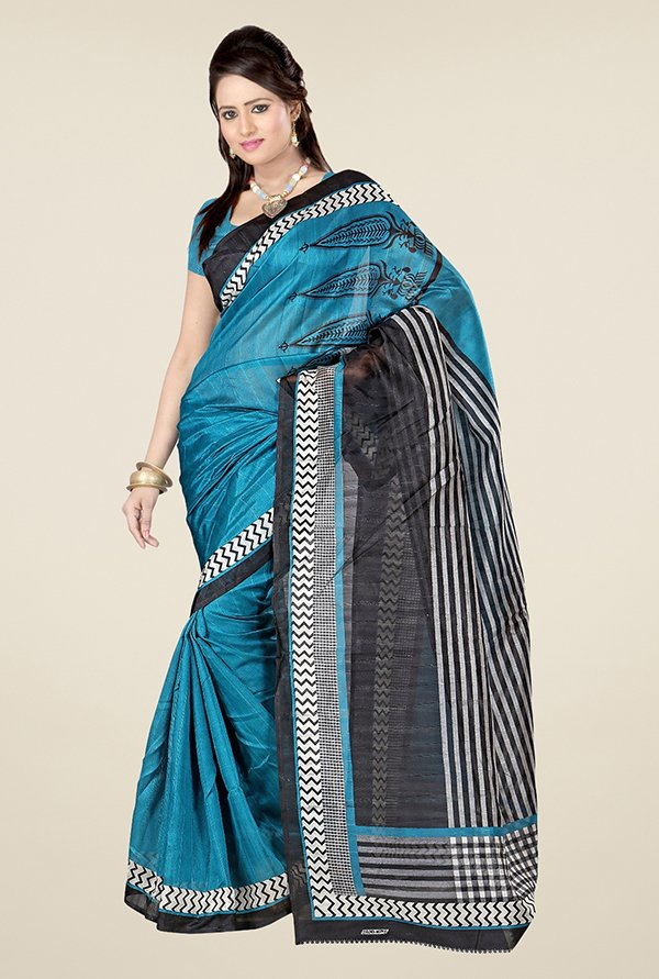Triveni Blue Printed Art Silk Saree