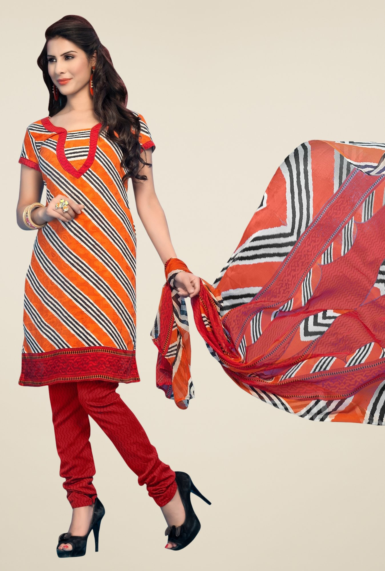 Triveni Orange & Maroon Striped Dress Material